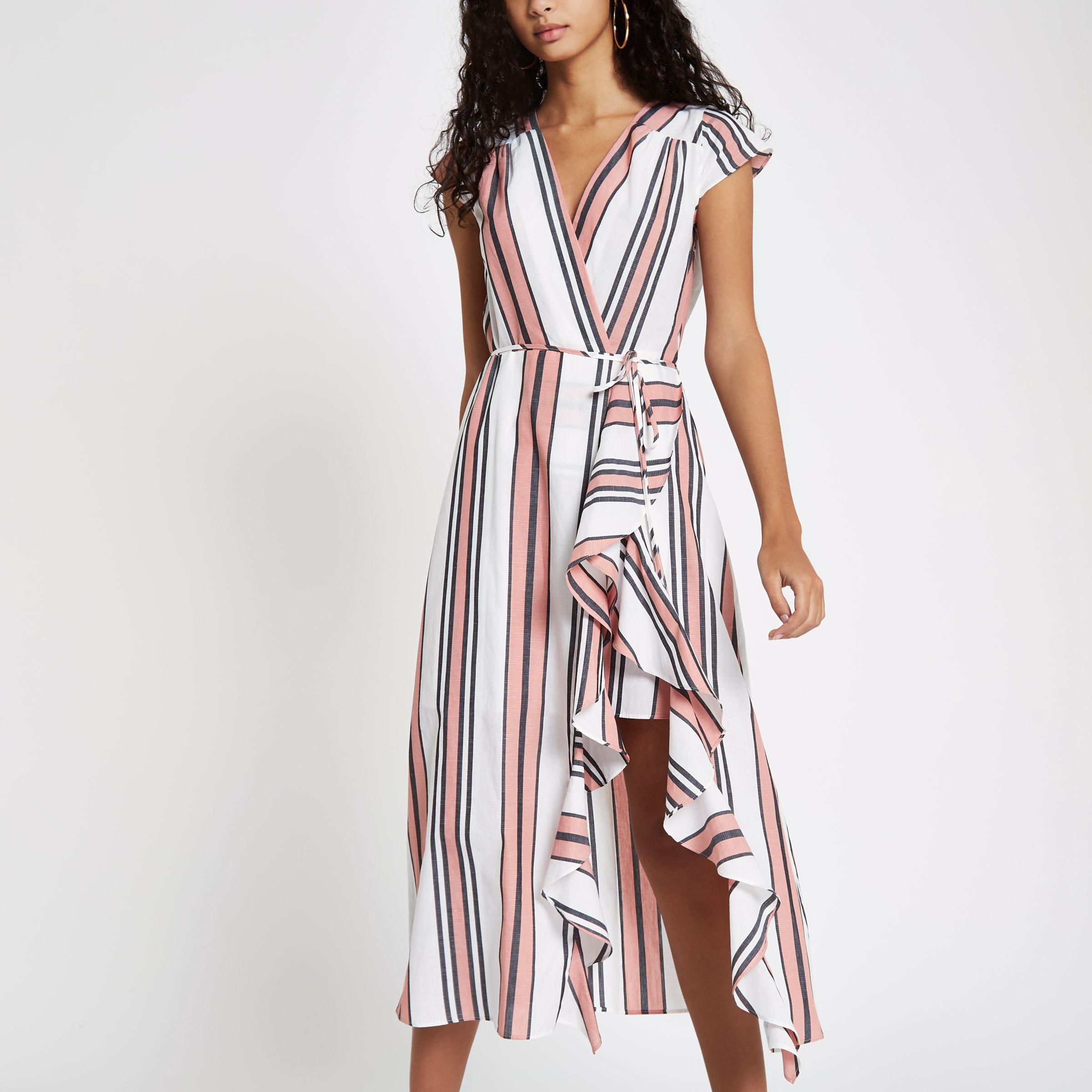 River Island Pink Stripe Frill Tie Waist Midi Dress In