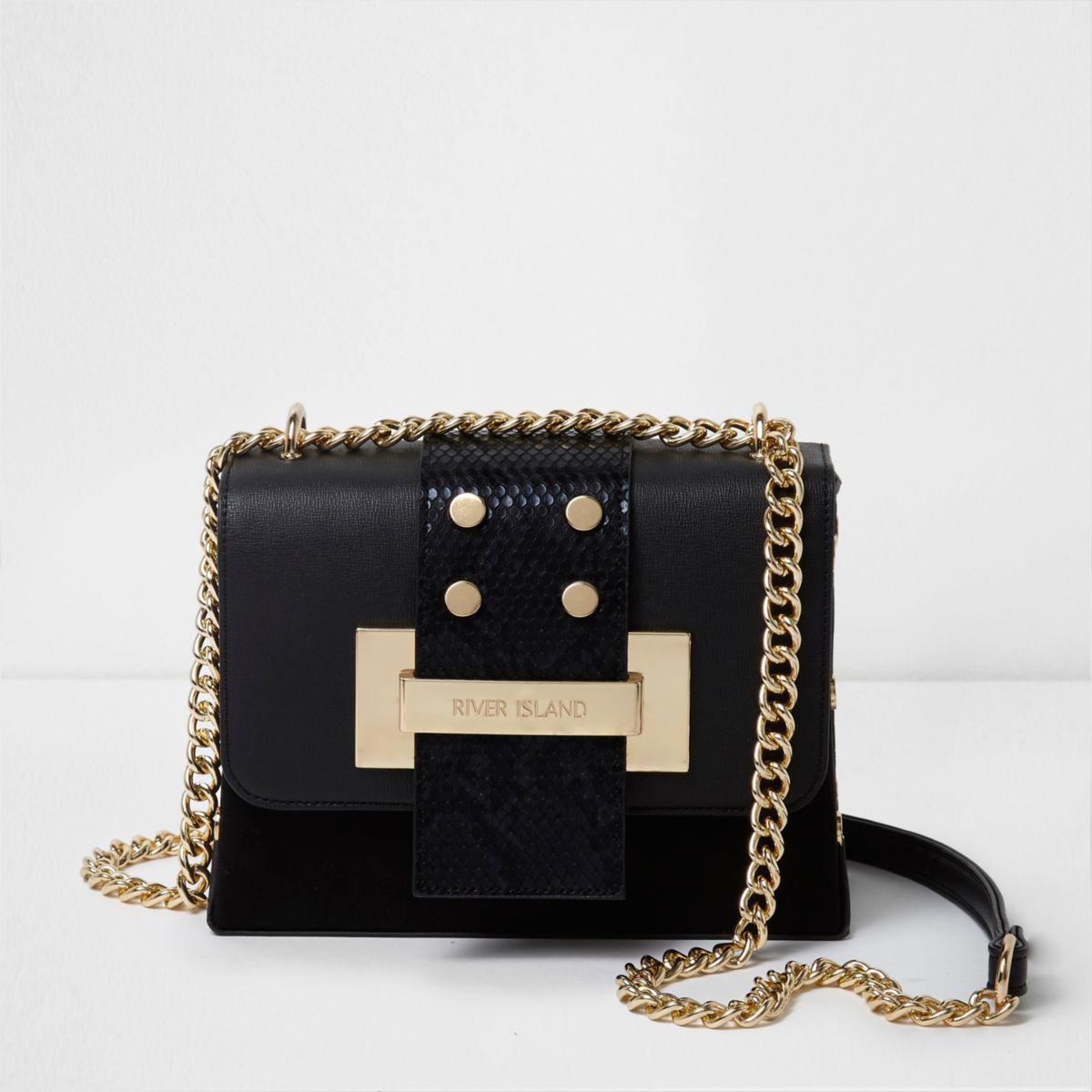 0dd9f125e6 Lyst - River Island Black And Gold Tone Chain Cross Body Bag in Black