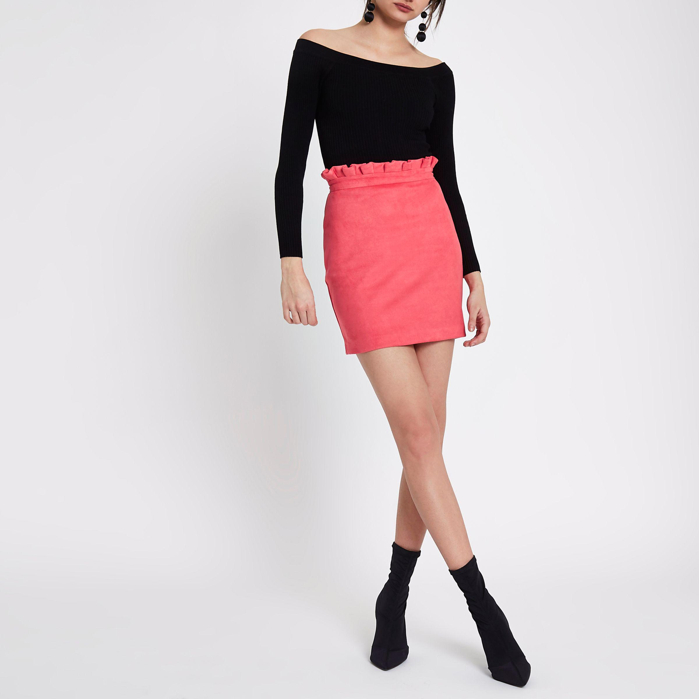 a3e53a595 Lyst - River Island Pink Faux Suede Paperbag Mini Skirt in Pink