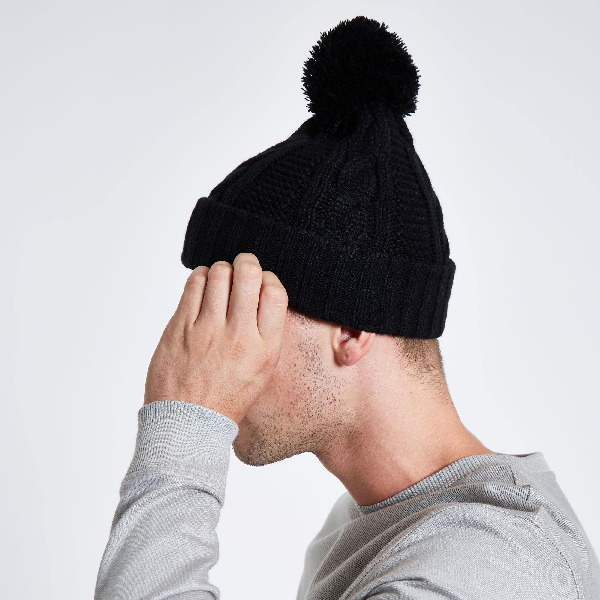 42e20c1cef6 River Island - Black Cable Knit Bobble Beanie Hat for Men - Lyst. View  fullscreen