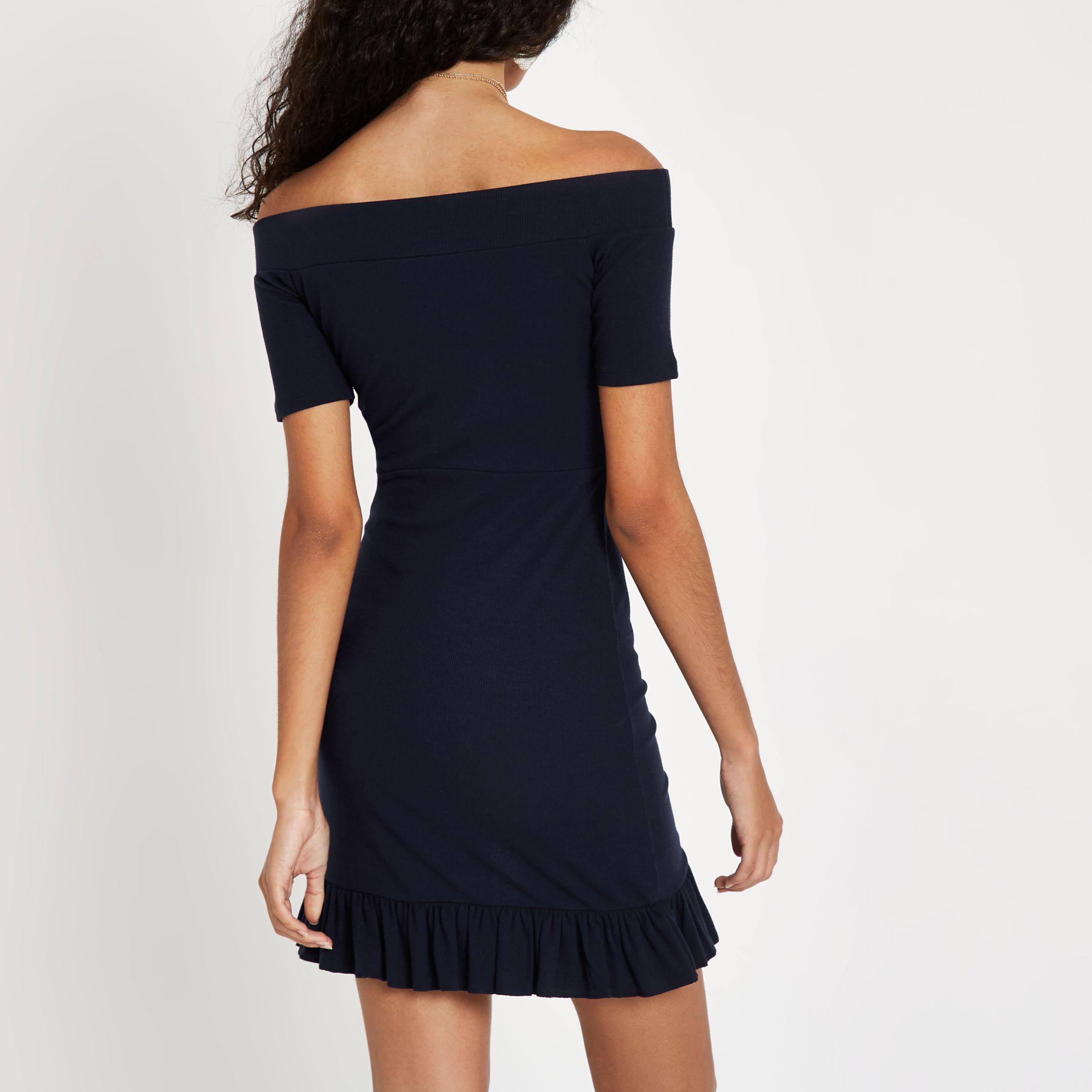 Shop For Womens Navy bardot frill hem mini dress River Island Free Shipping Top Quality Sale Online Store Big Sale Online z3RE5cK