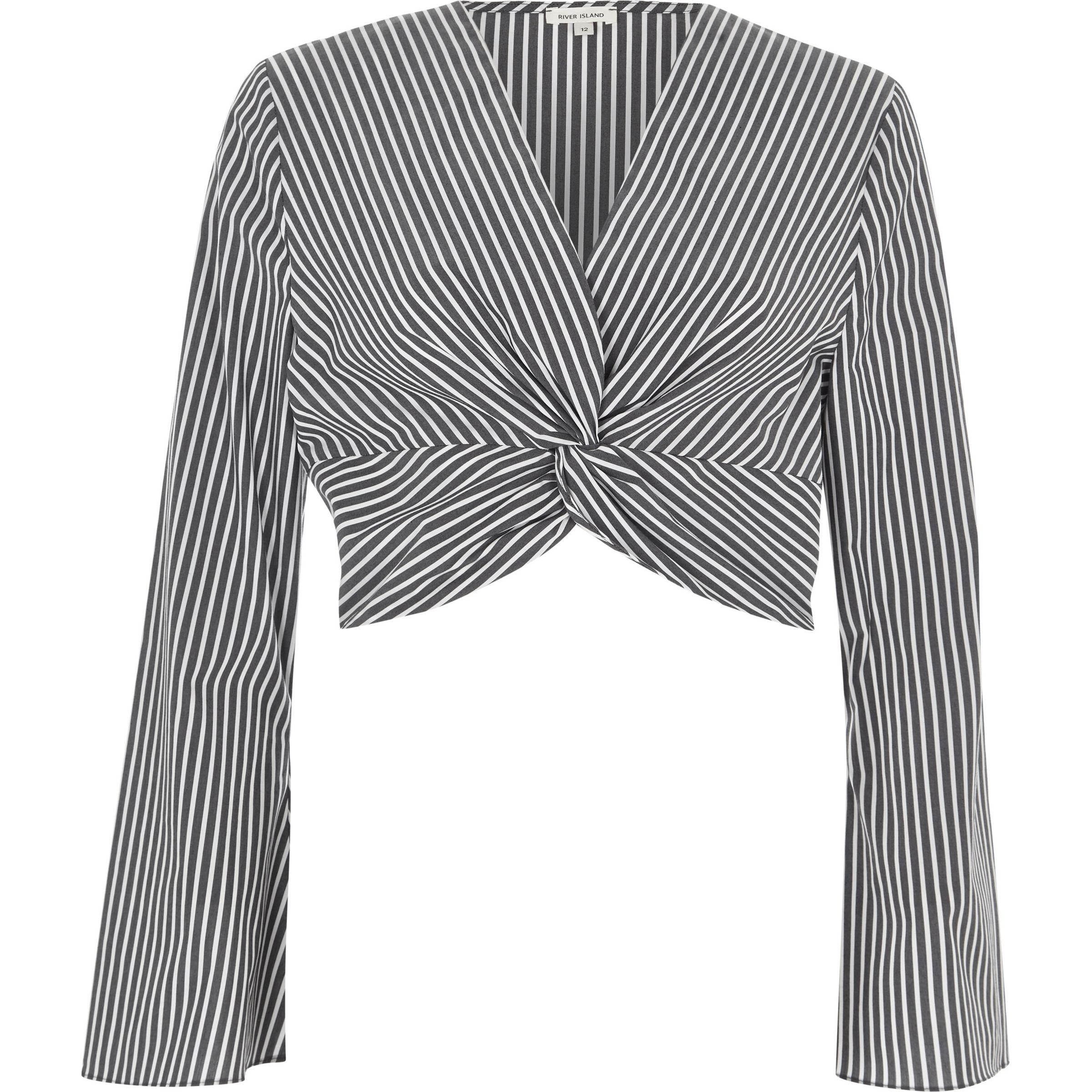 0d0a3c242e26 Lyst - River Island Black Stripe Print Knot Long Sleeve Crop Top in ...