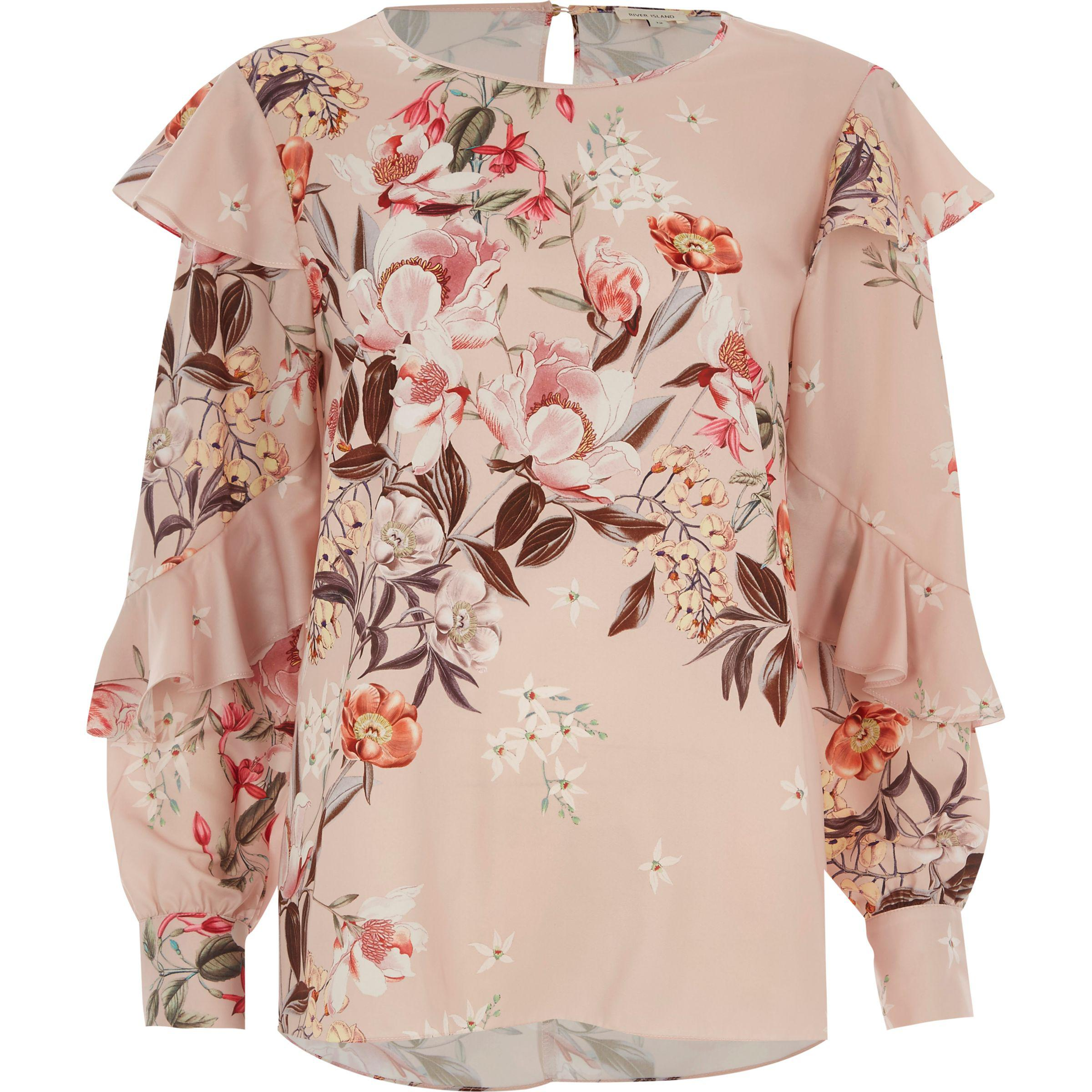 a19626f08daa76 River Island Pink Floral Print Frill Long Sleeve Top in Pink - Lyst