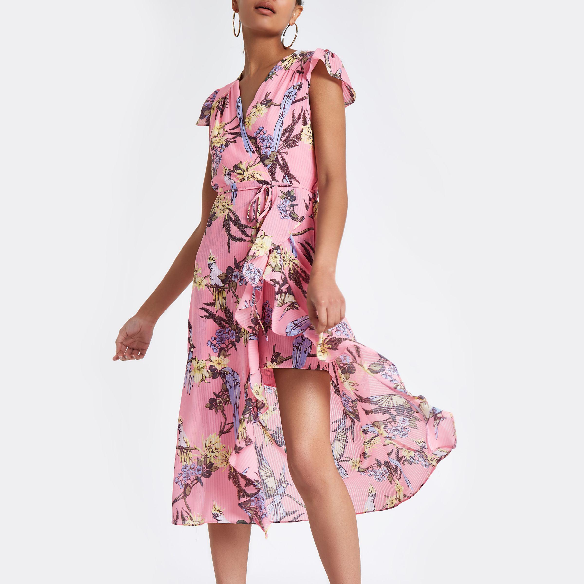 9c4785ba565a Petite Pink Floral Frill Wrap Maxi Dress - raveitsafe