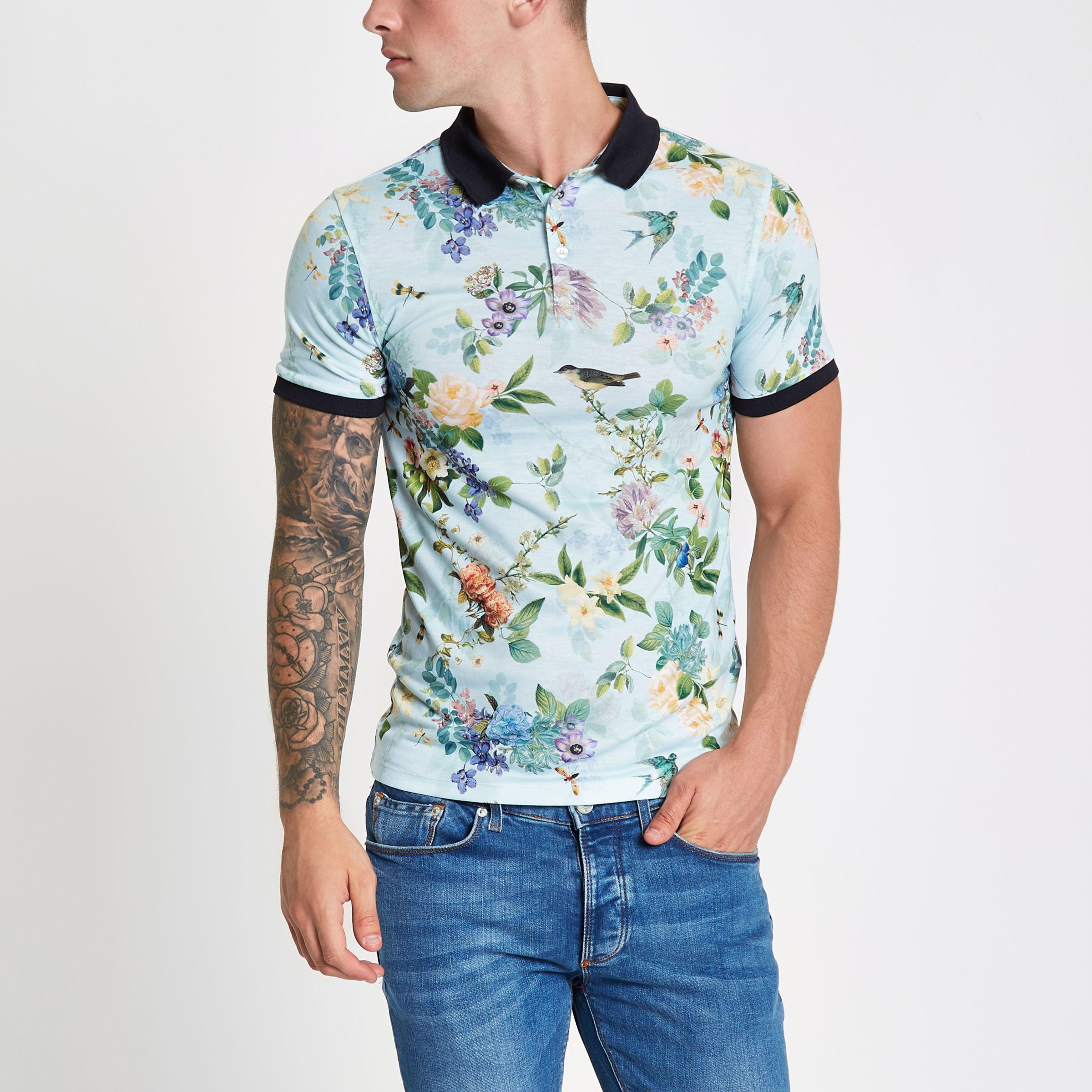 78b3f0d5b Lyst - River Island Light Floral Muscle Fit Polo Shirt in Green for Men