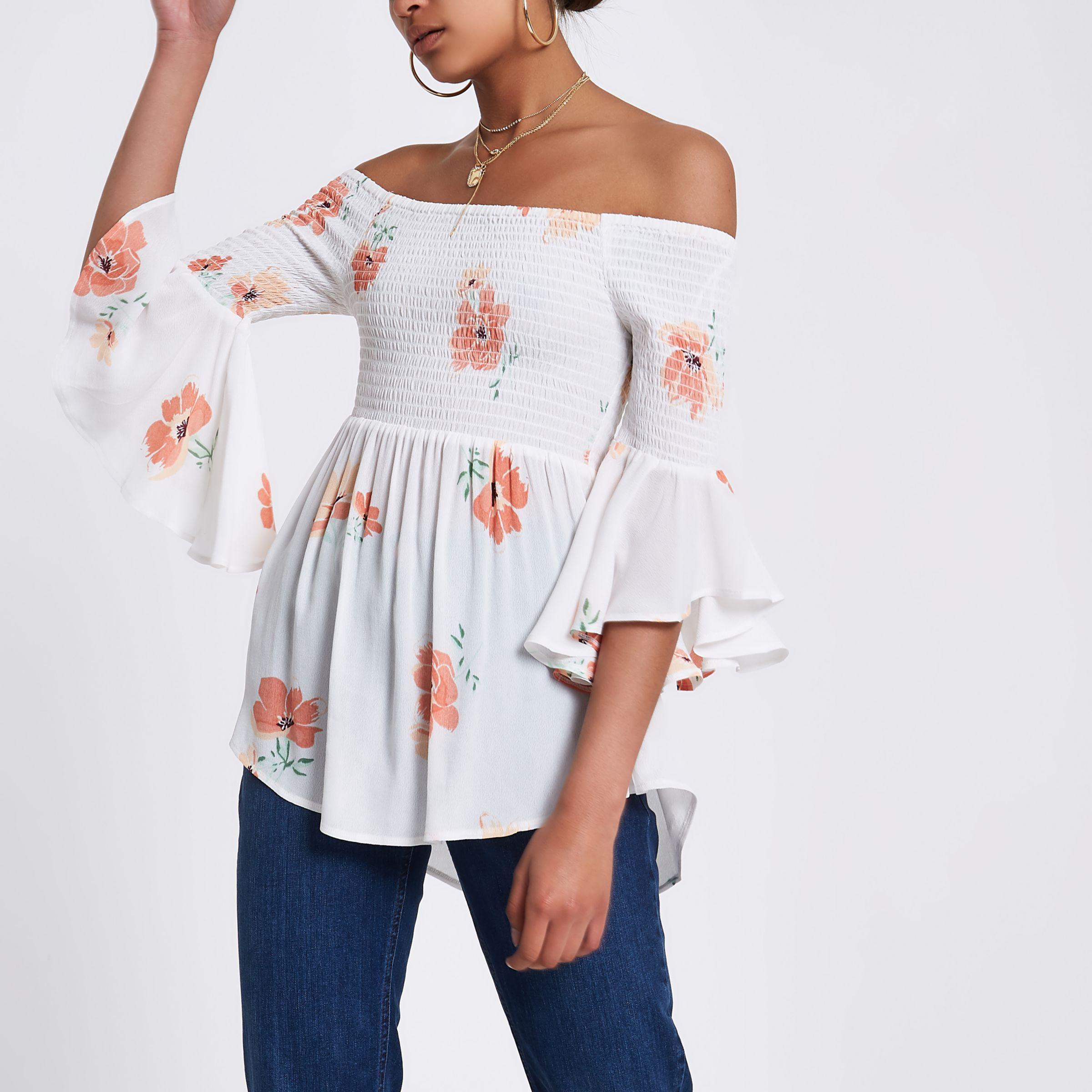 Fashionable Online Womens Cream shirred floral bardot frill sleeve top River Island Cheap Fashion Style Te8Dh