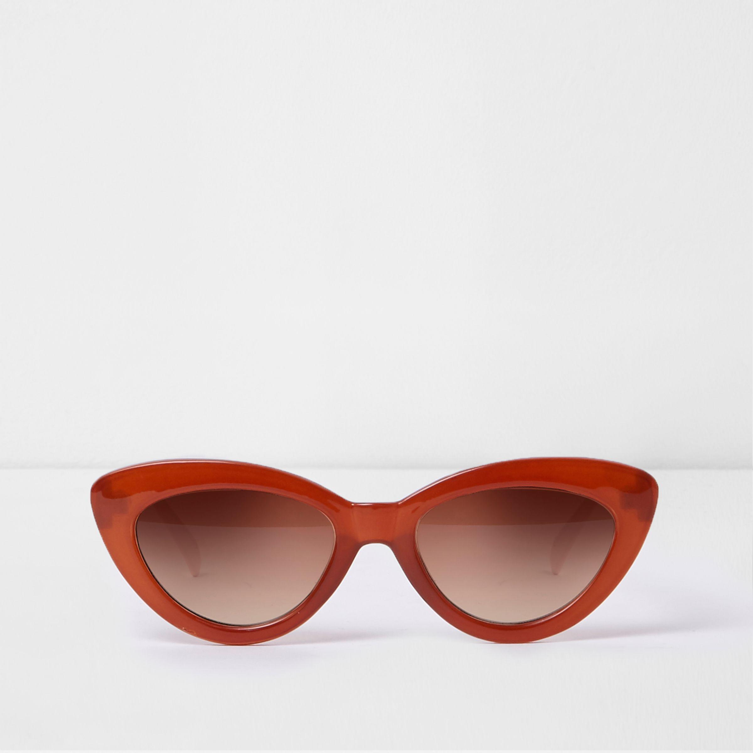 5851f93e8bc1 Lyst - River Island Dark Cat Eye Tinted Lens Sunglasses in Orange