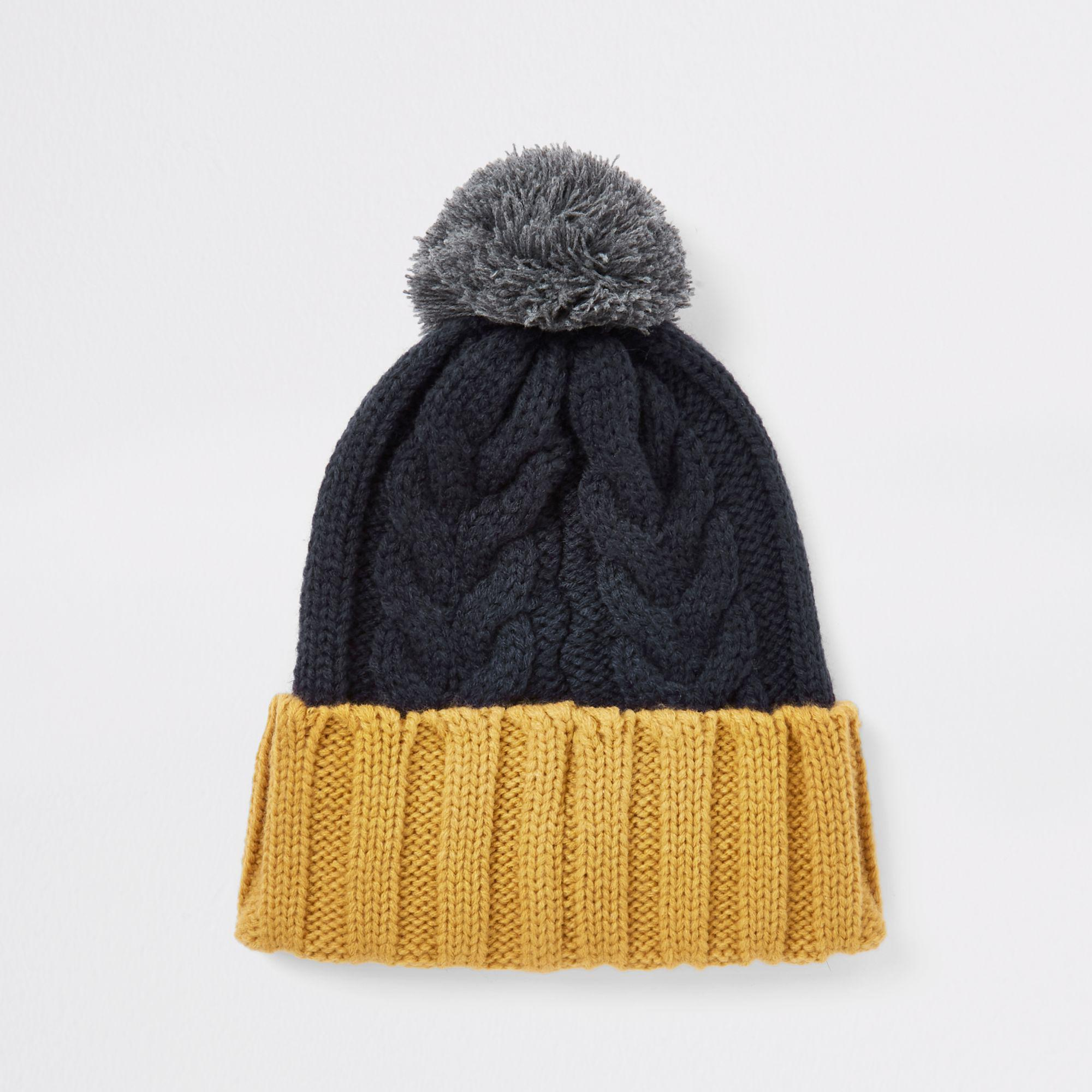 784bd8d5c9a River Island Block Cable Knit Bobble Beanie Hat in Blue for Men - Lyst