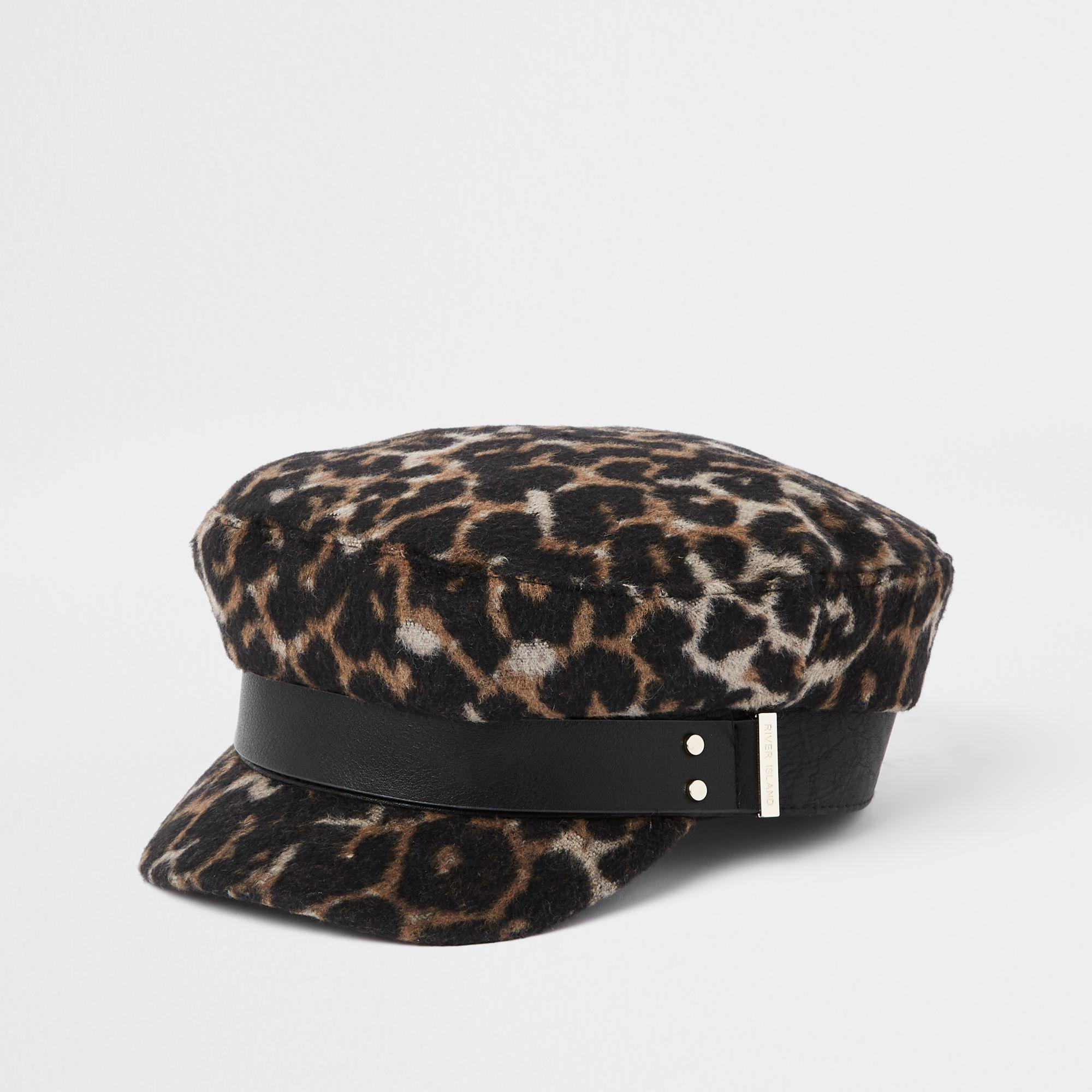 bea3e7b94ea4 River Island Brown Leopard Print Studded Baker Boy Hat in Brown - Lyst
