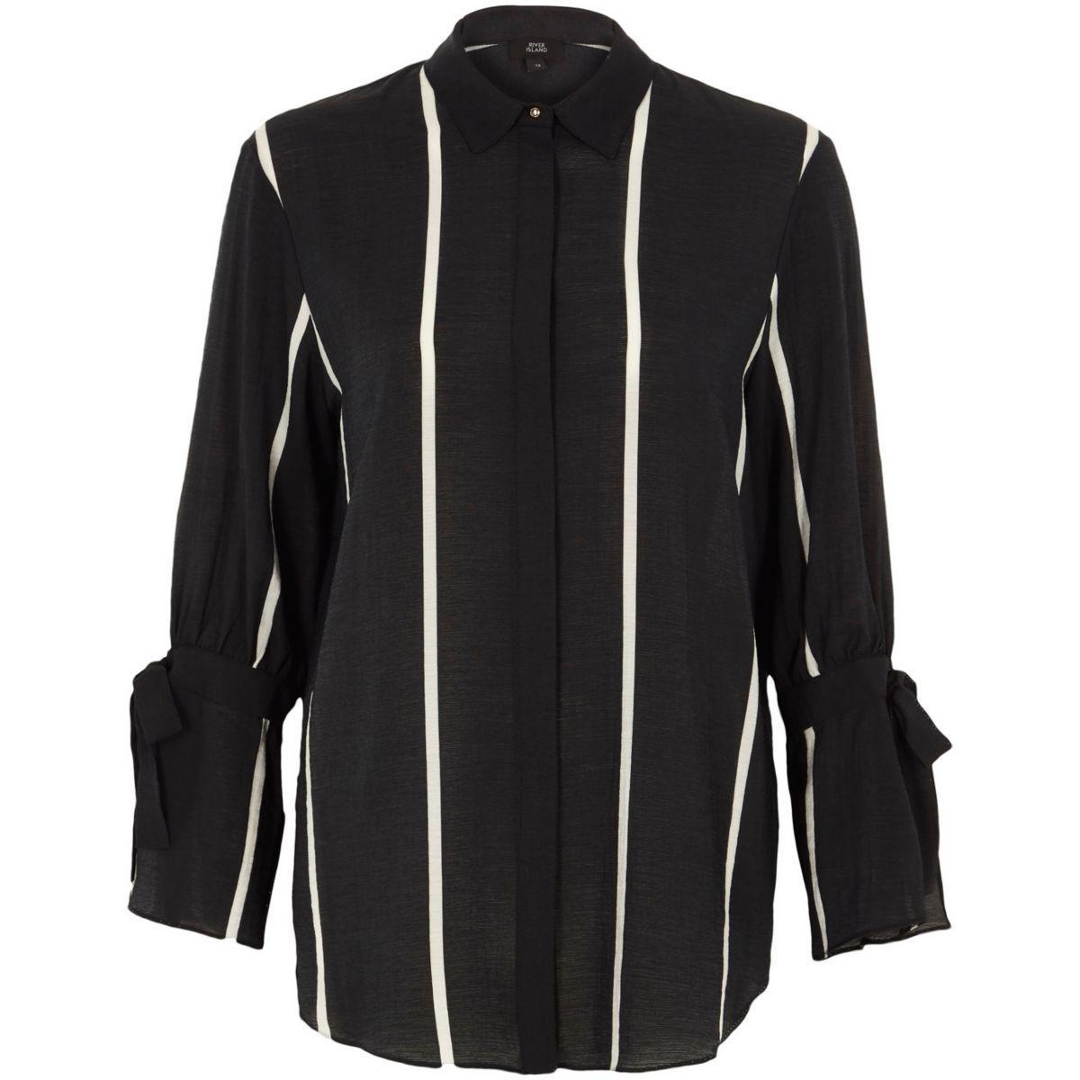 Lyst river island black stripe print tie sleeve shirt for Black shirt and black tie