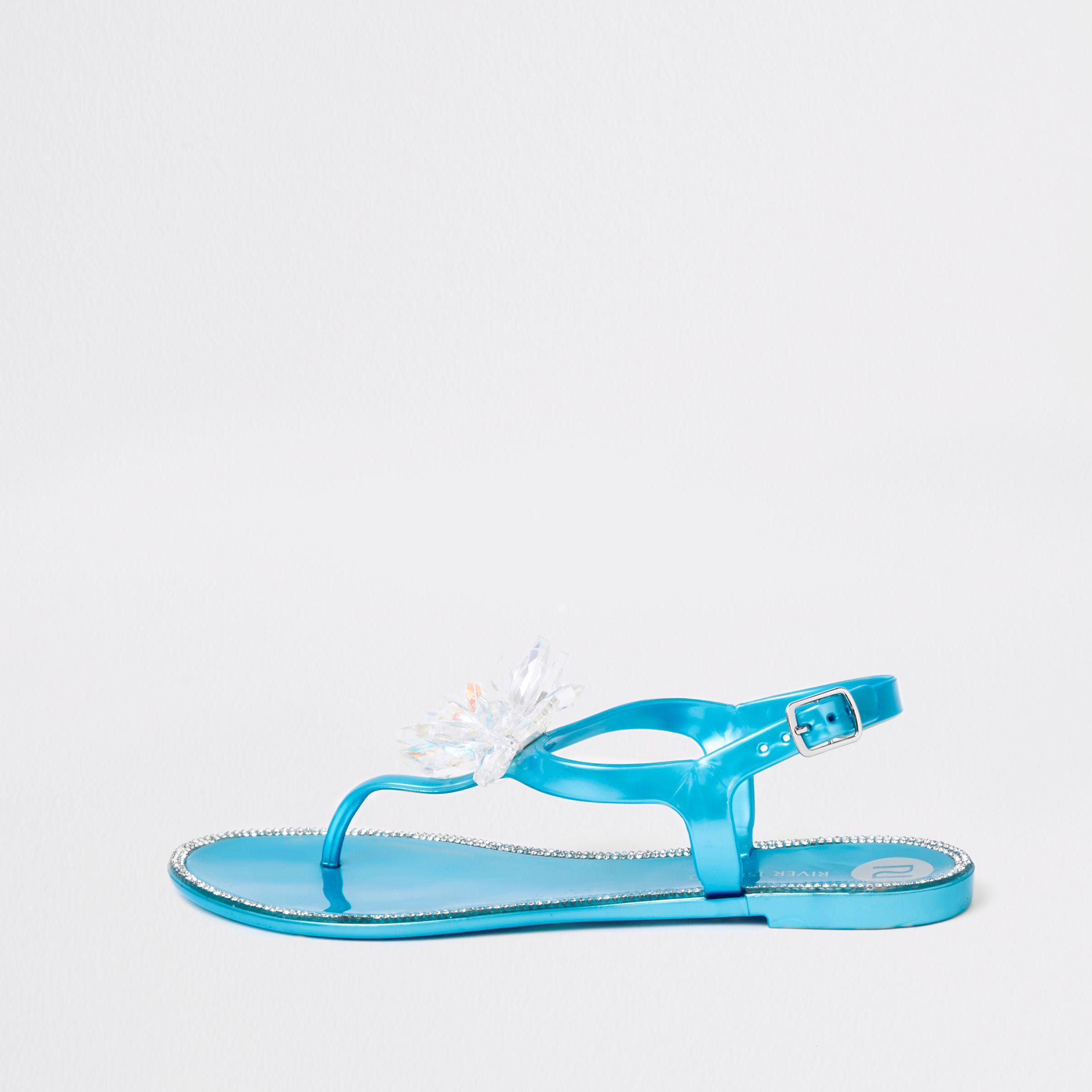f0bc48eaf885 Lyst - River Island Blue Jewel Flower Jelly Sandals in Blue