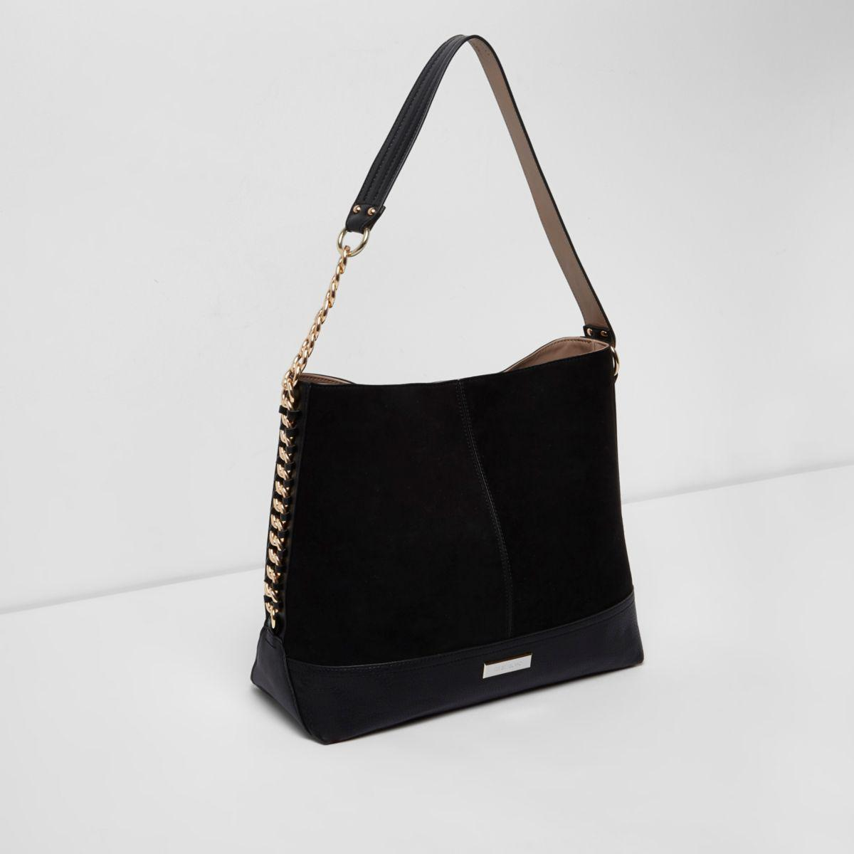 Lyst - River Island Black Chain Side Slouch Bag in Black 1e30355f37b62