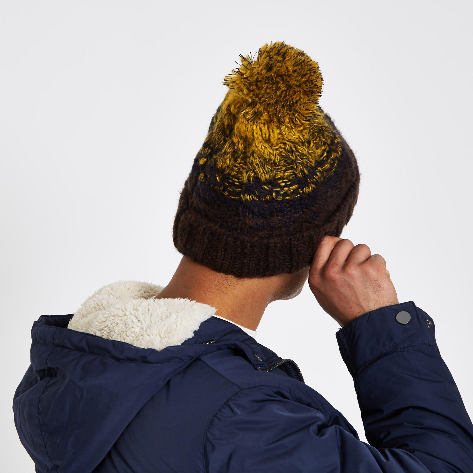 31361765307 River Island - Mustard Yellow Cable Knit Bobble Beanie Hat for Men - Lyst.  View fullscreen