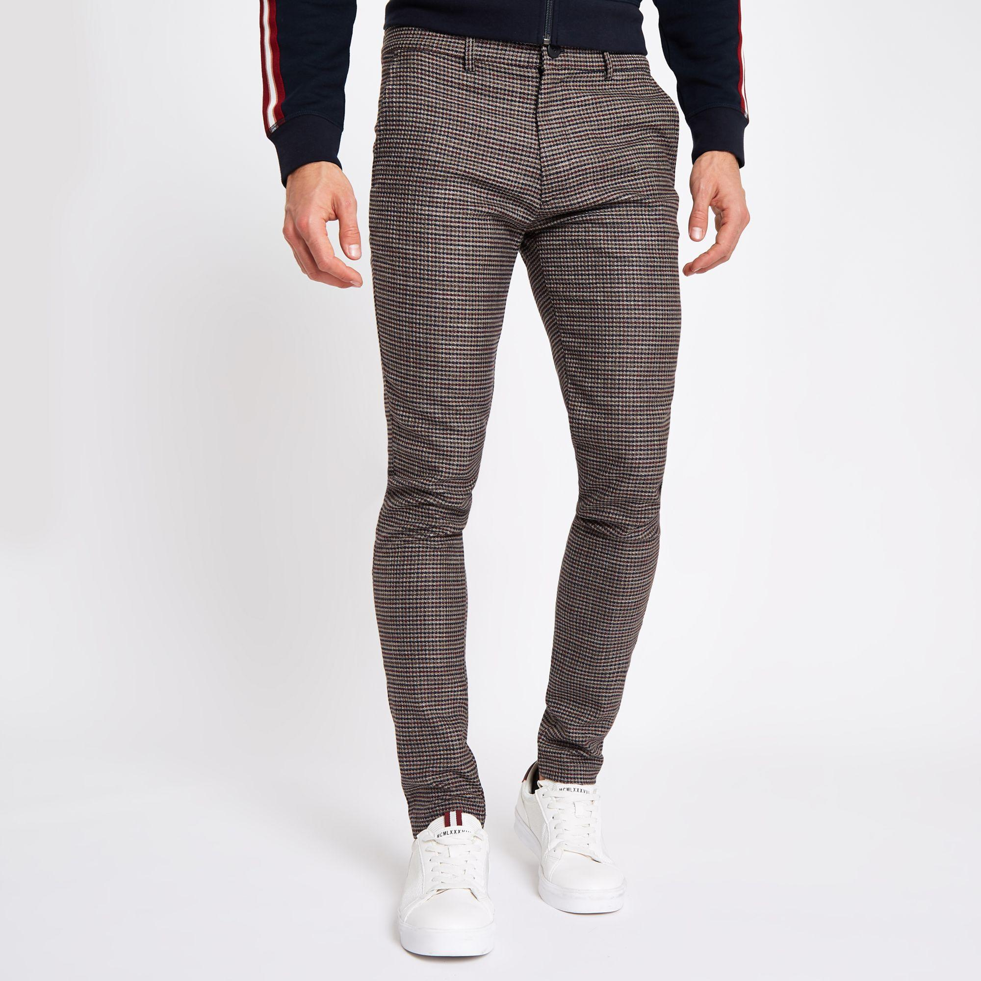 6187a8e89da3 River Island Houndstooth Stretch Super Skinny Pants in Brown for Men ...