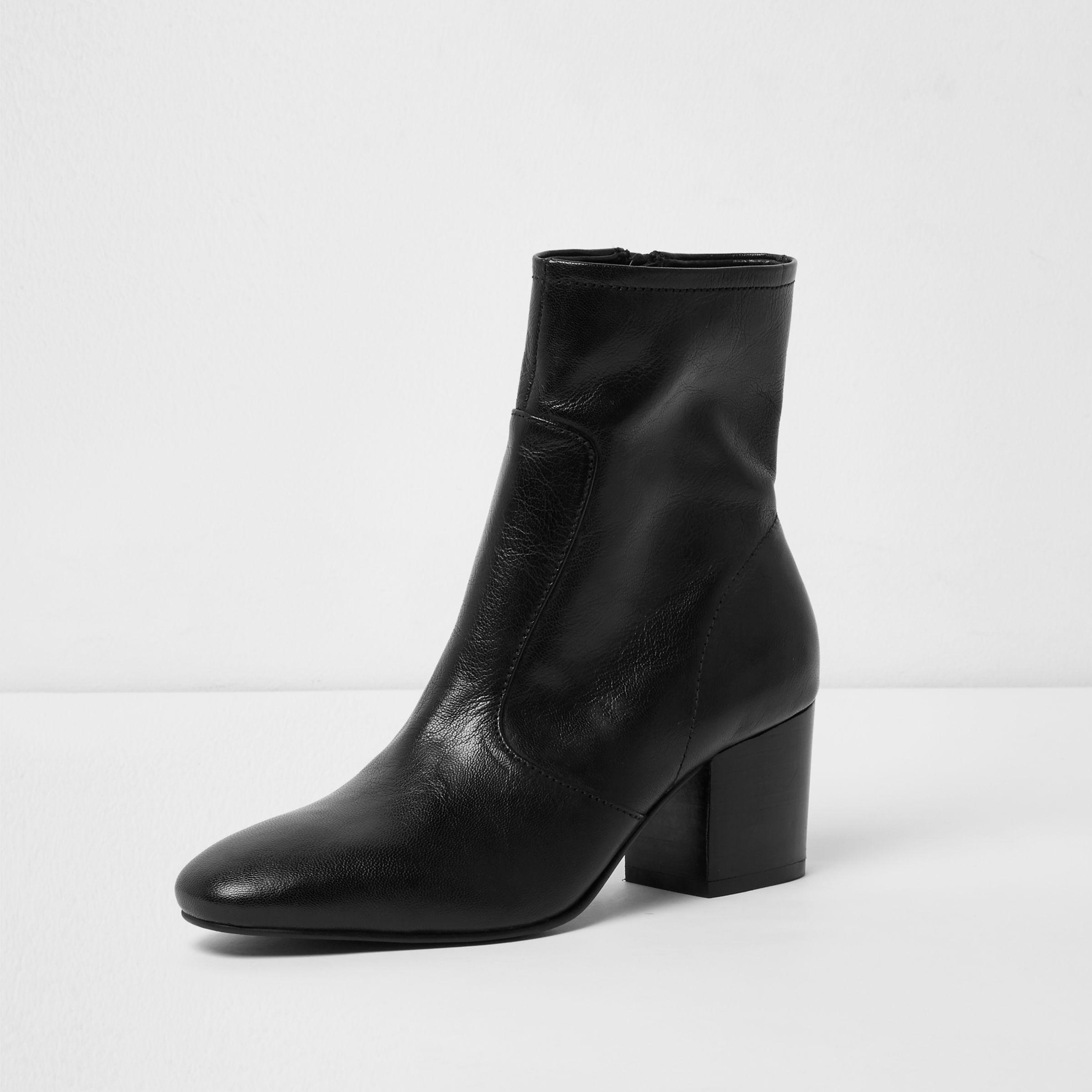 b02ee9ce05a0 River Island Black Leather Sock Block Heel Ankle Boots in Black - Lyst