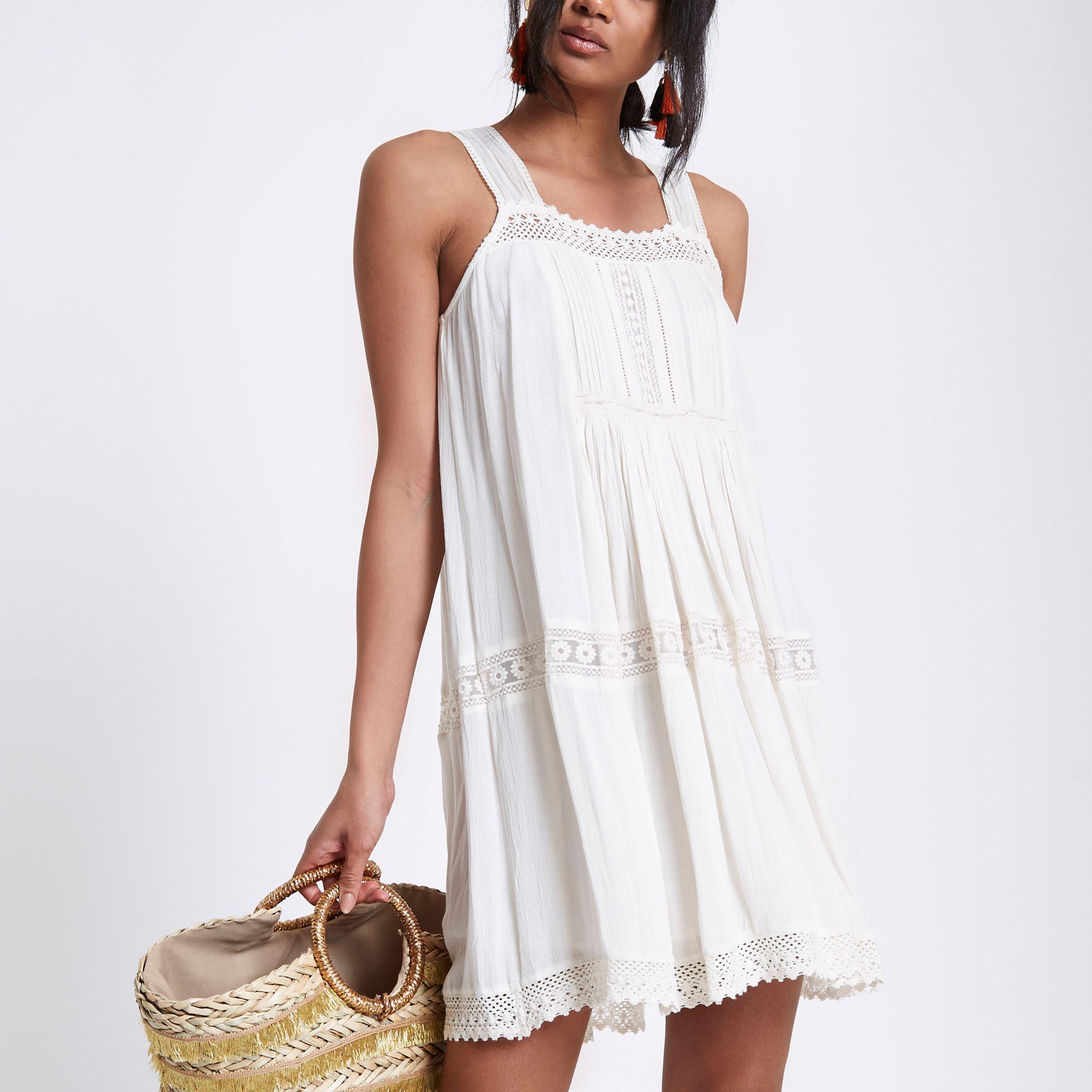 8b2cb28ec7af Lyst - River Island Cream Lace Open Back Swing Dress in Natural