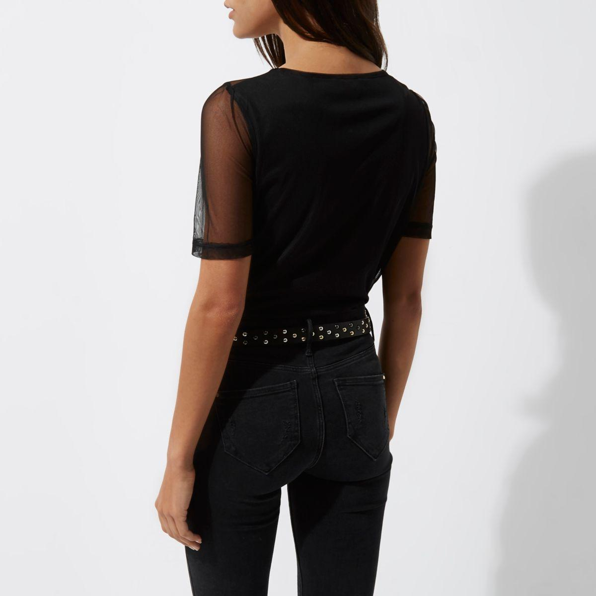 River island black embroidered mesh t shirt in black lyst for Embroidered mesh t shirt
