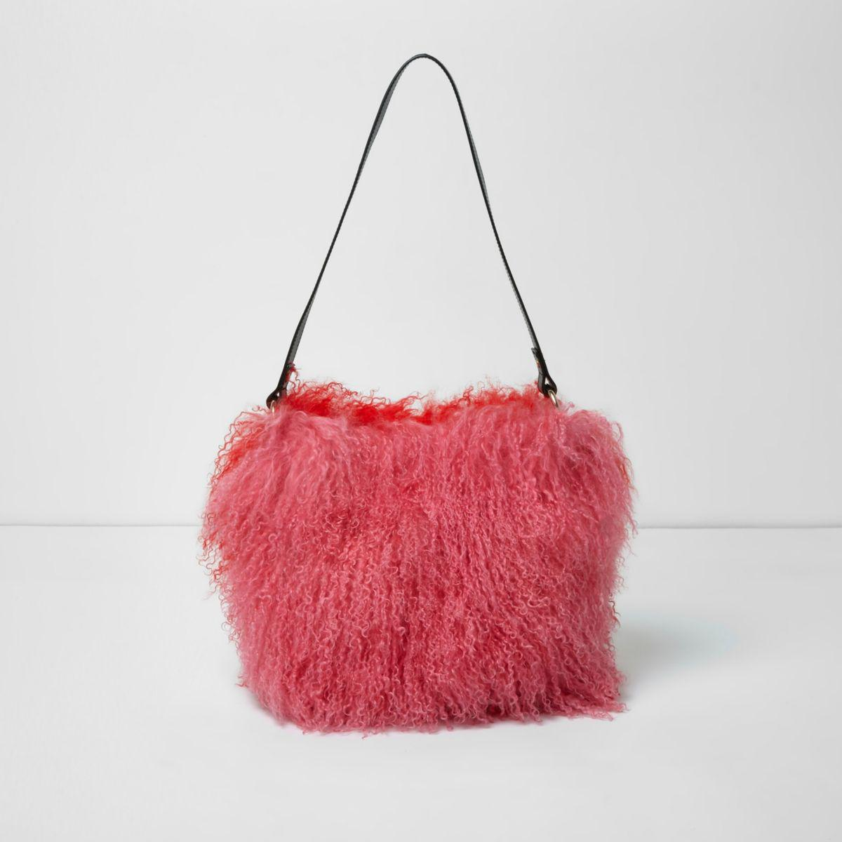 dd522ba2b91d Lyst - River Island Pink And Red Mongolian Fur Leather Bucket Bag in ...