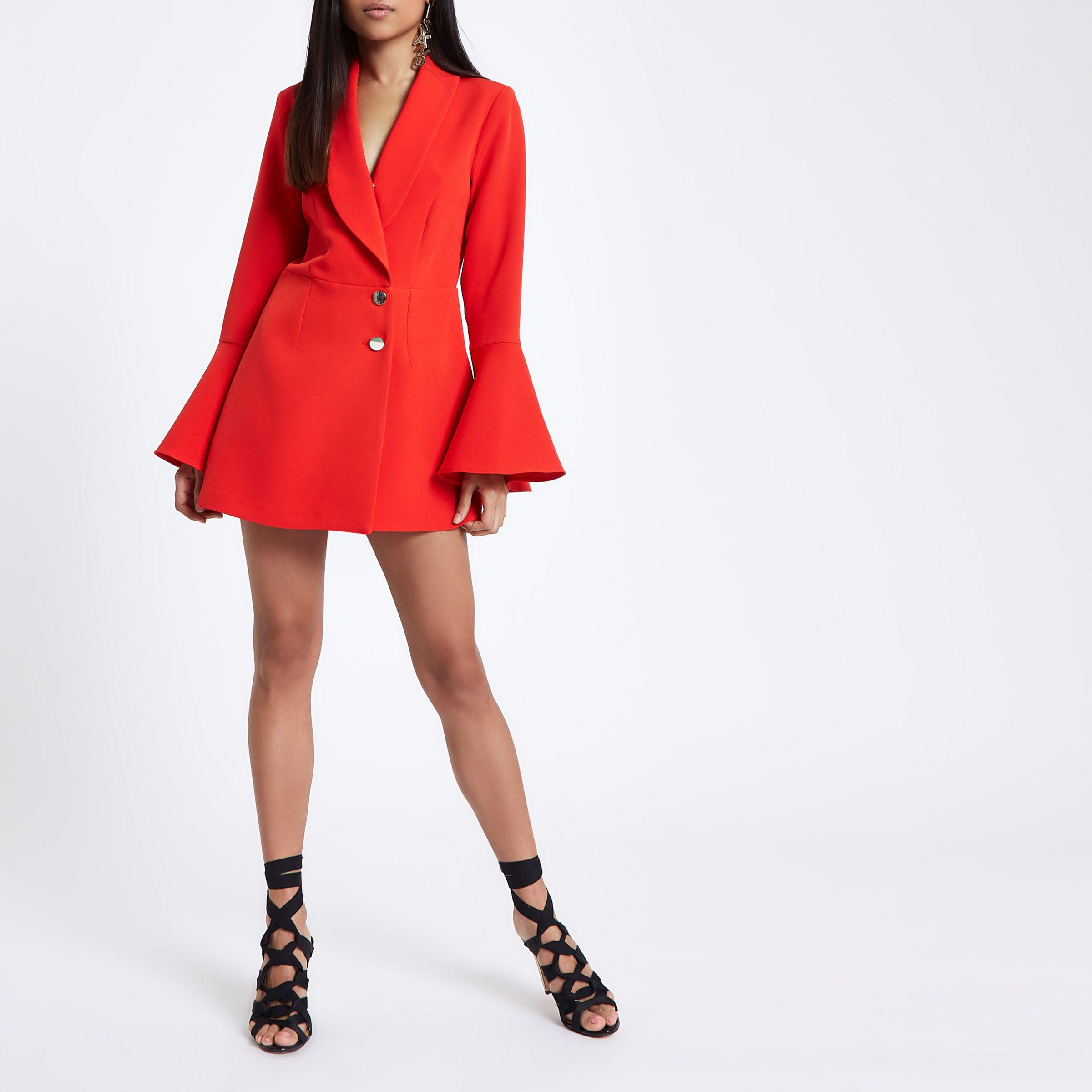 1283a1544b3 River Island Petite Red Tux Padded Shoulder Playsuit in Red - Lyst