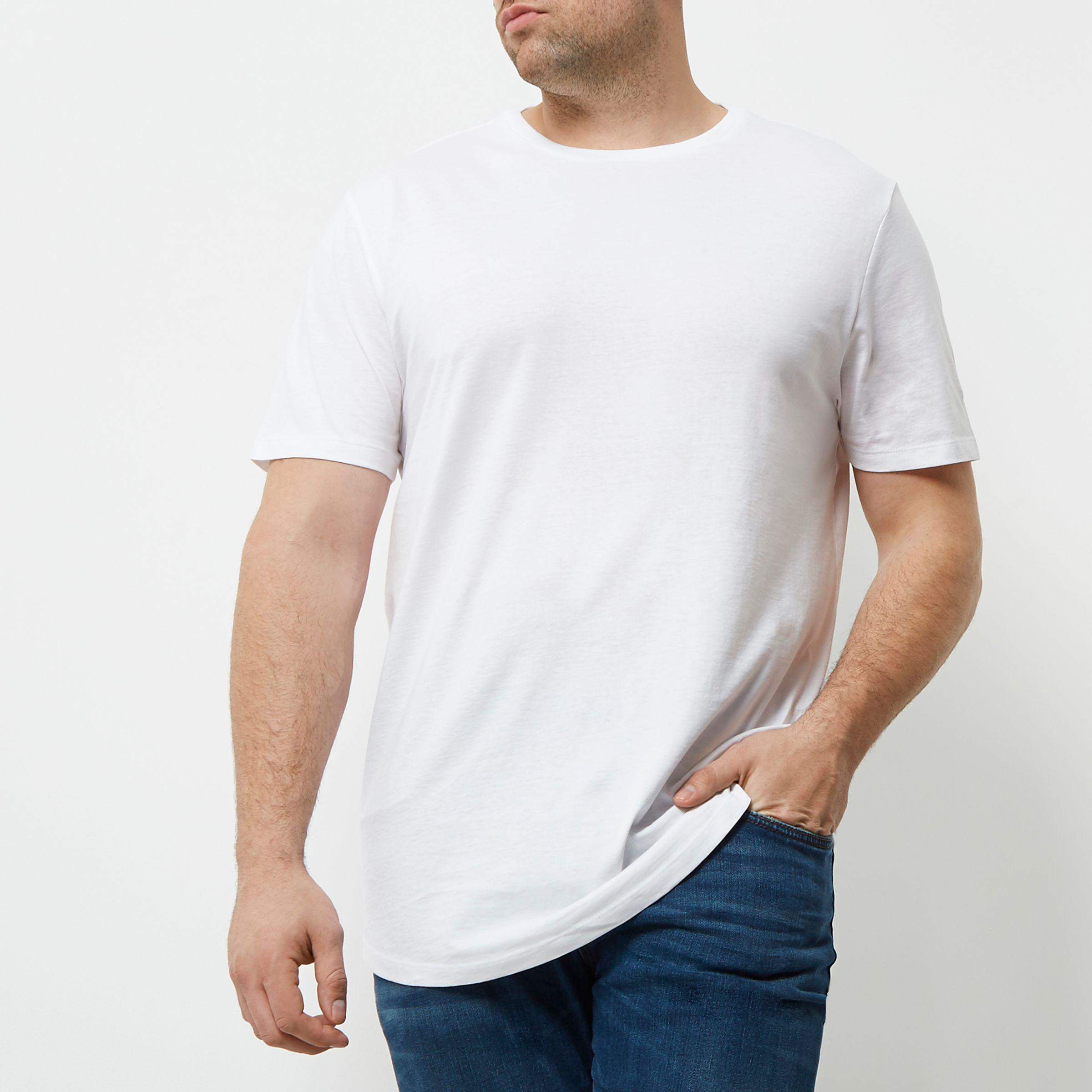 0204a8c3a66 River Island Big And Tall White Curved Hem T-shirt in White for Men ...