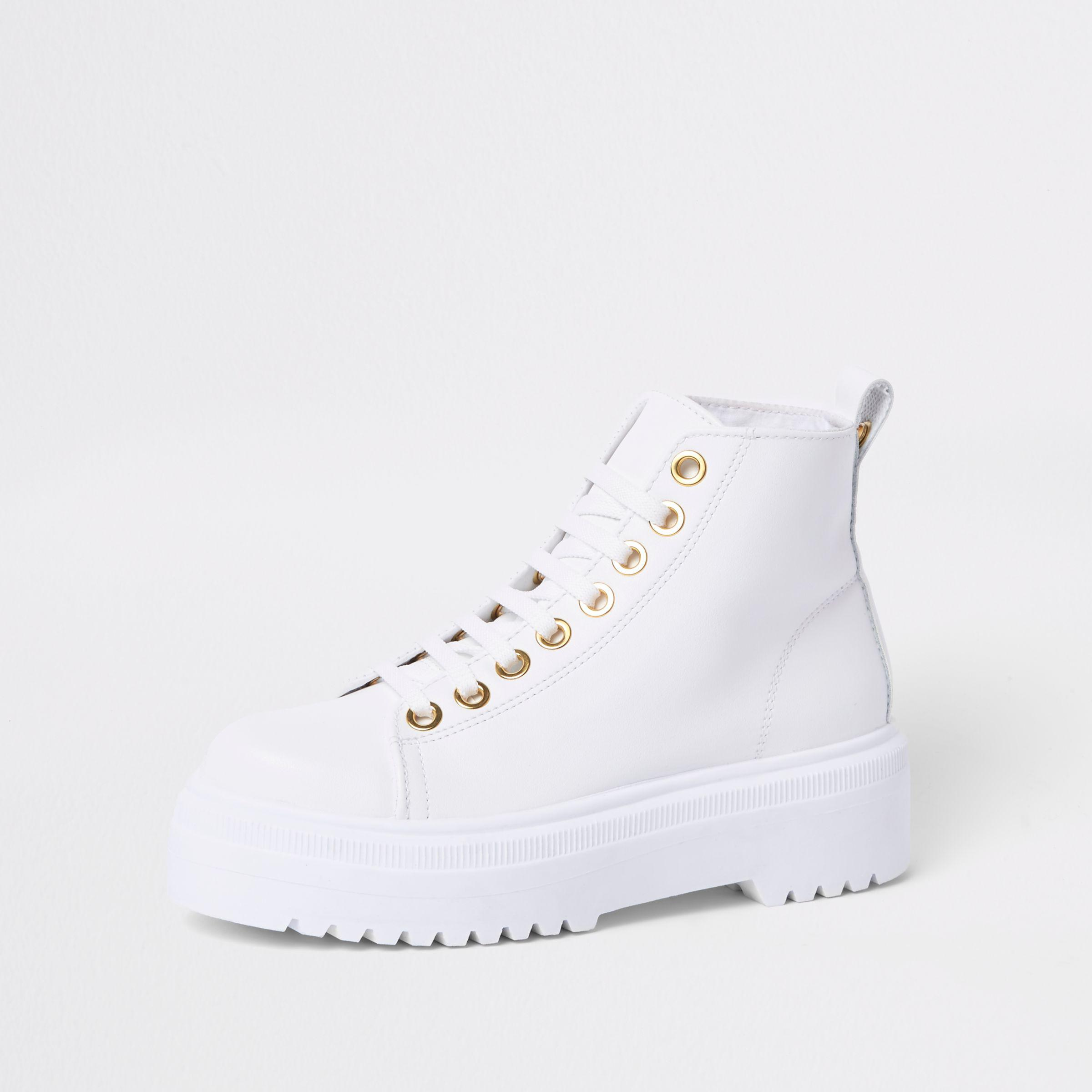 36cbf637ec9091 River Island White Chunky Digger Lace Up Boots in White - Lyst