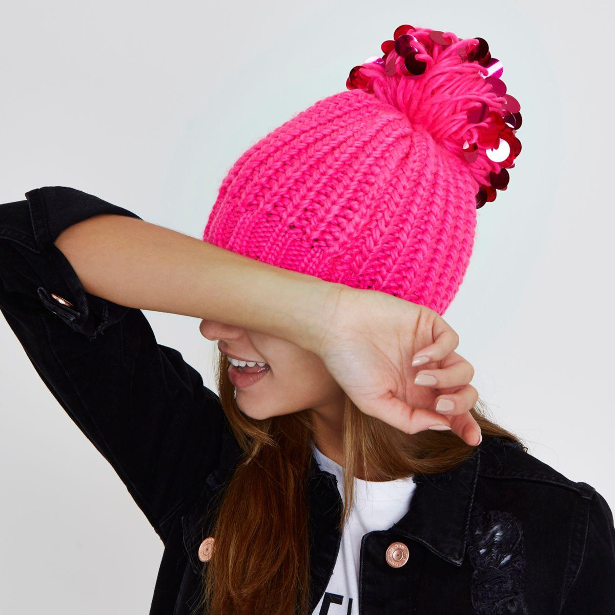 Lyst - River Island Bright Pink Sequin Pom Pom Beanie Hat in Pink 714905343a