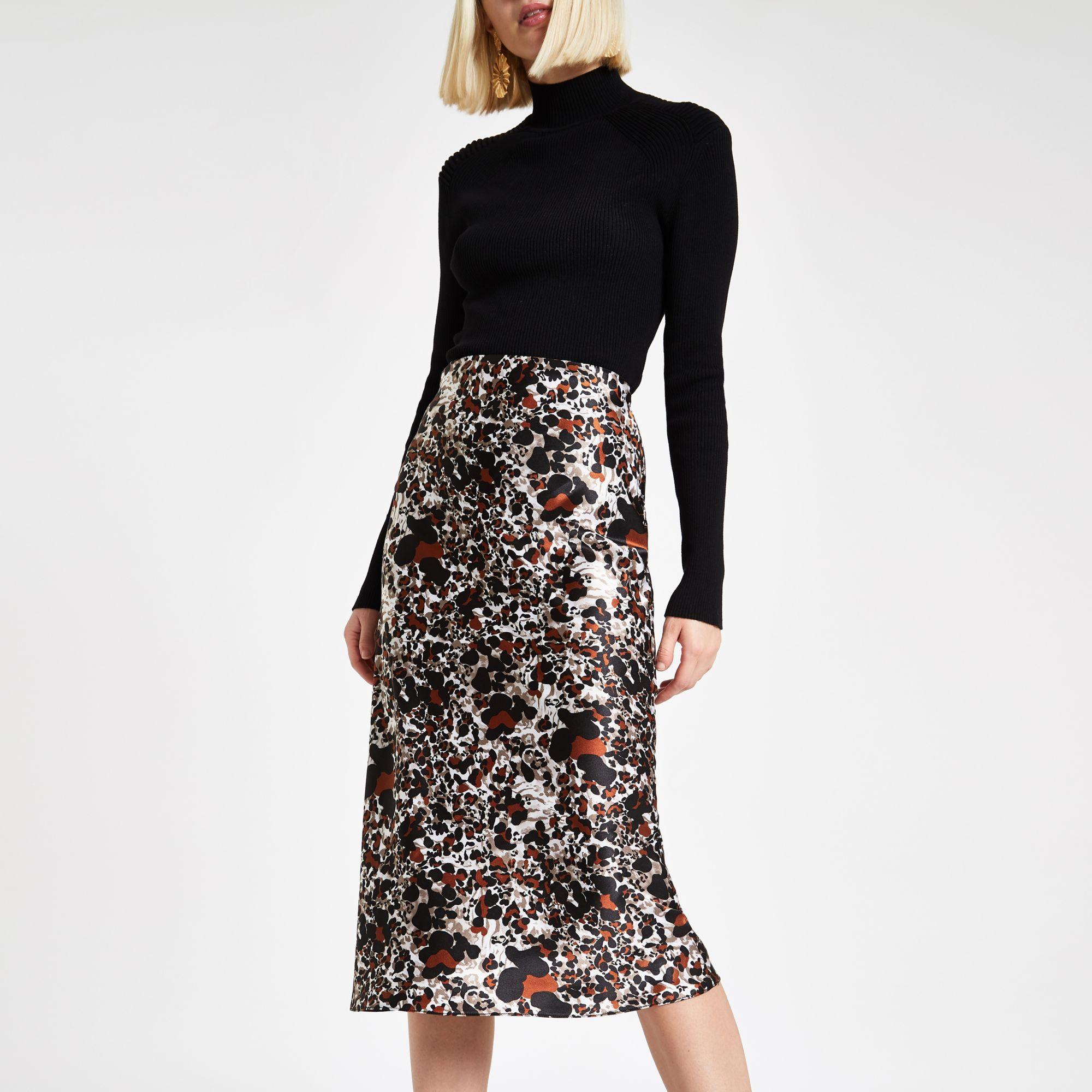 huge selection of genuine top-rated newest River Island Brown Rust Leopard Print Bias Cut Midi Skirt