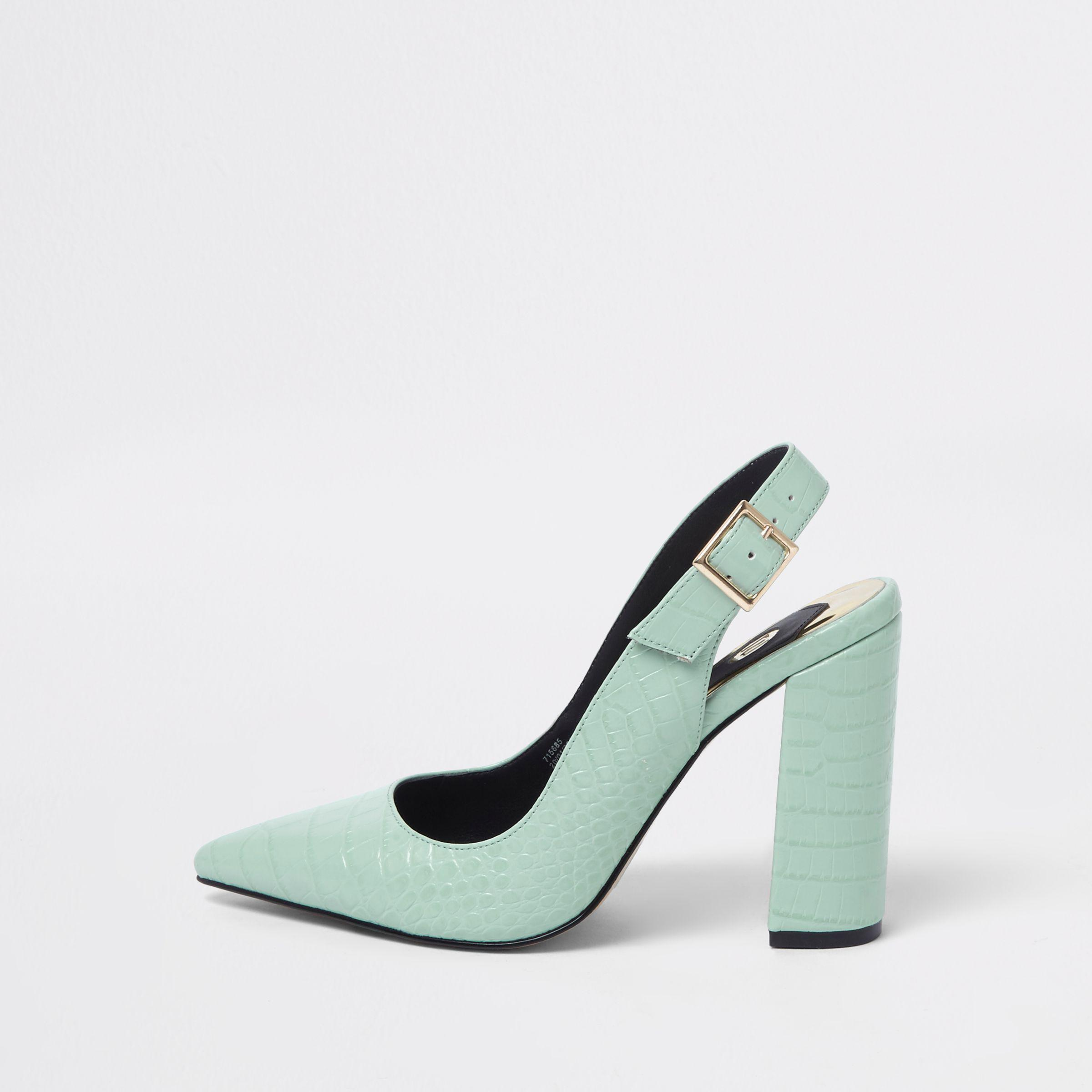 River Island Womens croc block heel sling back court shoes B4m7ggQZ