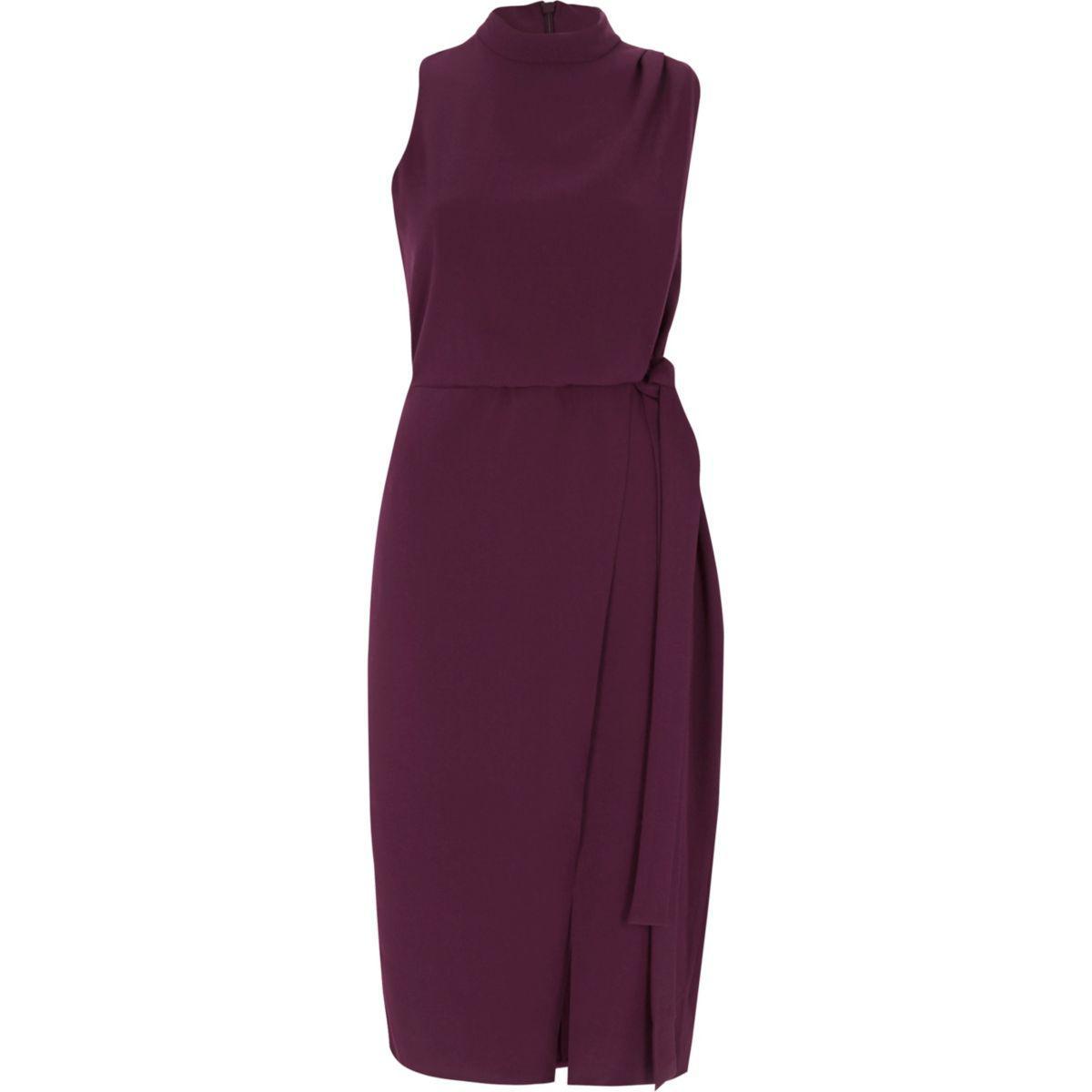 River island Dark Purple High Neck Sleeveless Wrap Dress ...