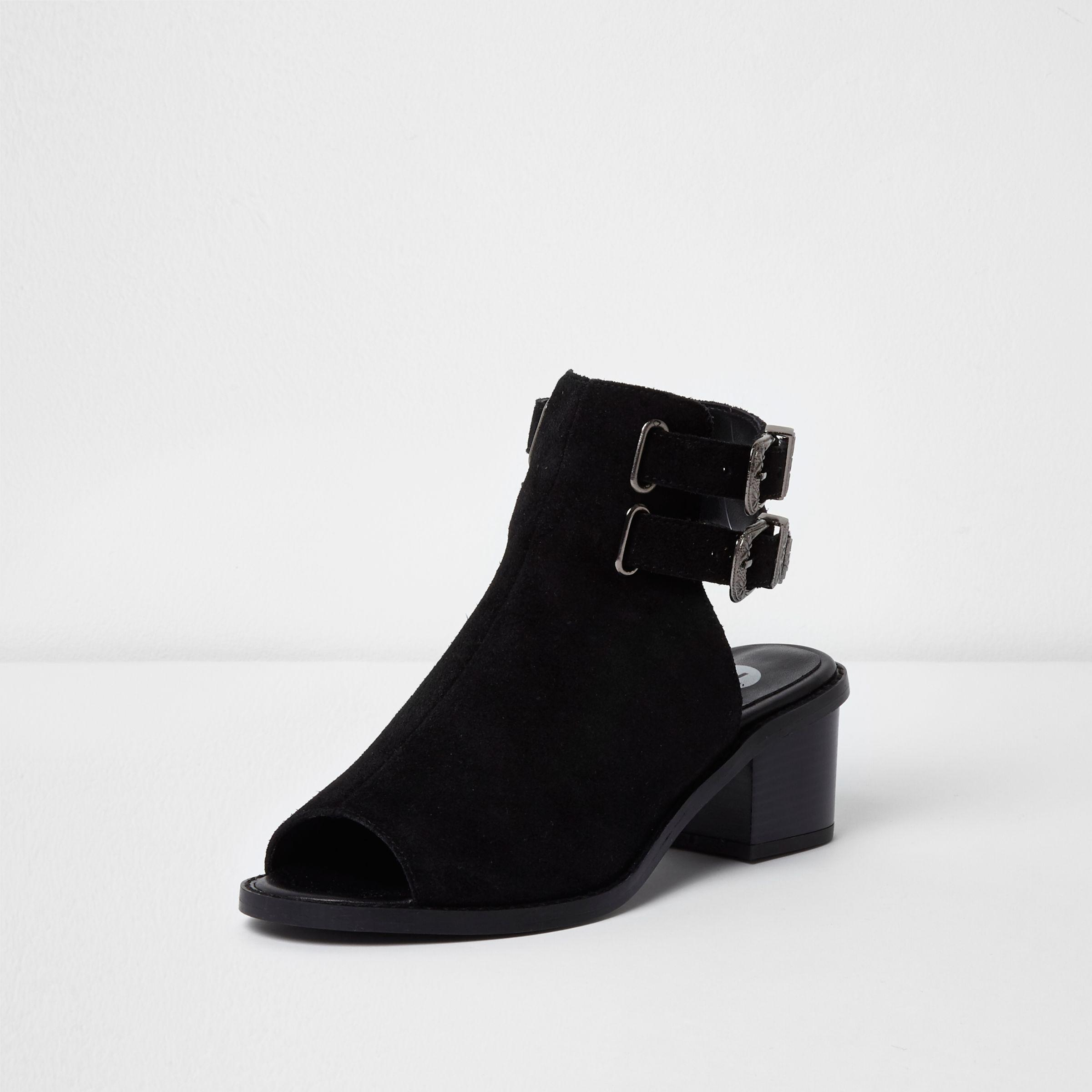 Lyst - River Island Black Suede Western Style Peep Toe Shoe Boot in ... e33d27114