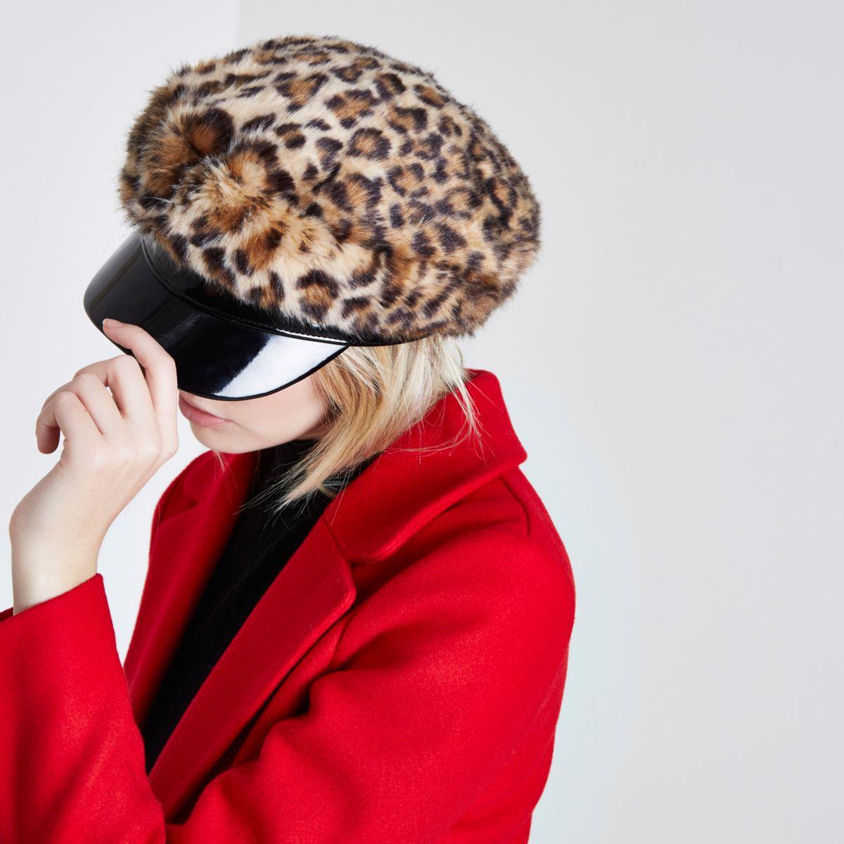 Lyst - River Island Brown Leopard Print Faux Fur Baker Boy Hat Brown ... 4d34215e844