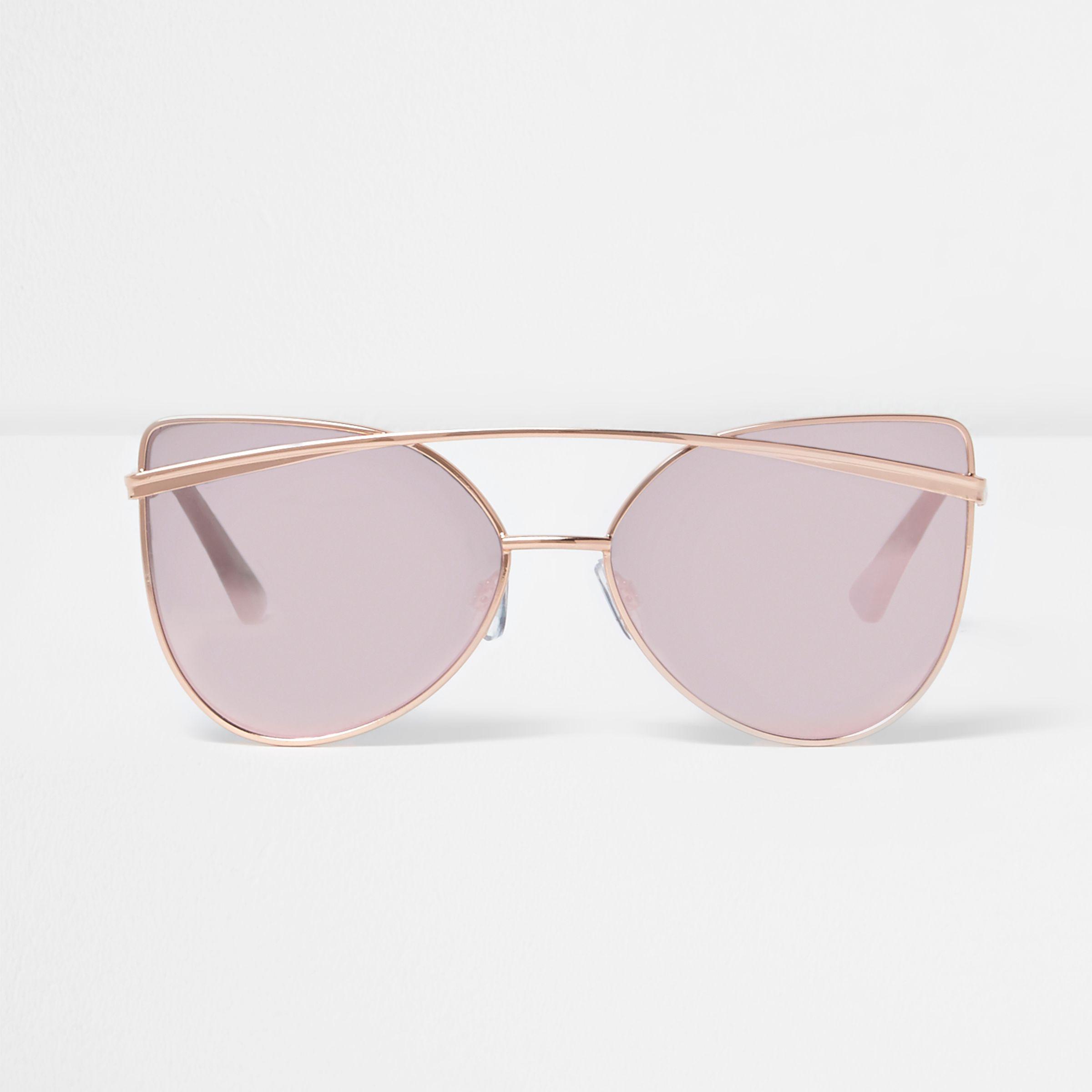 9df6470ceb5 River Island Rose Gold Tone Cat Eye Pink Mirror Sunglasses in Pink ...