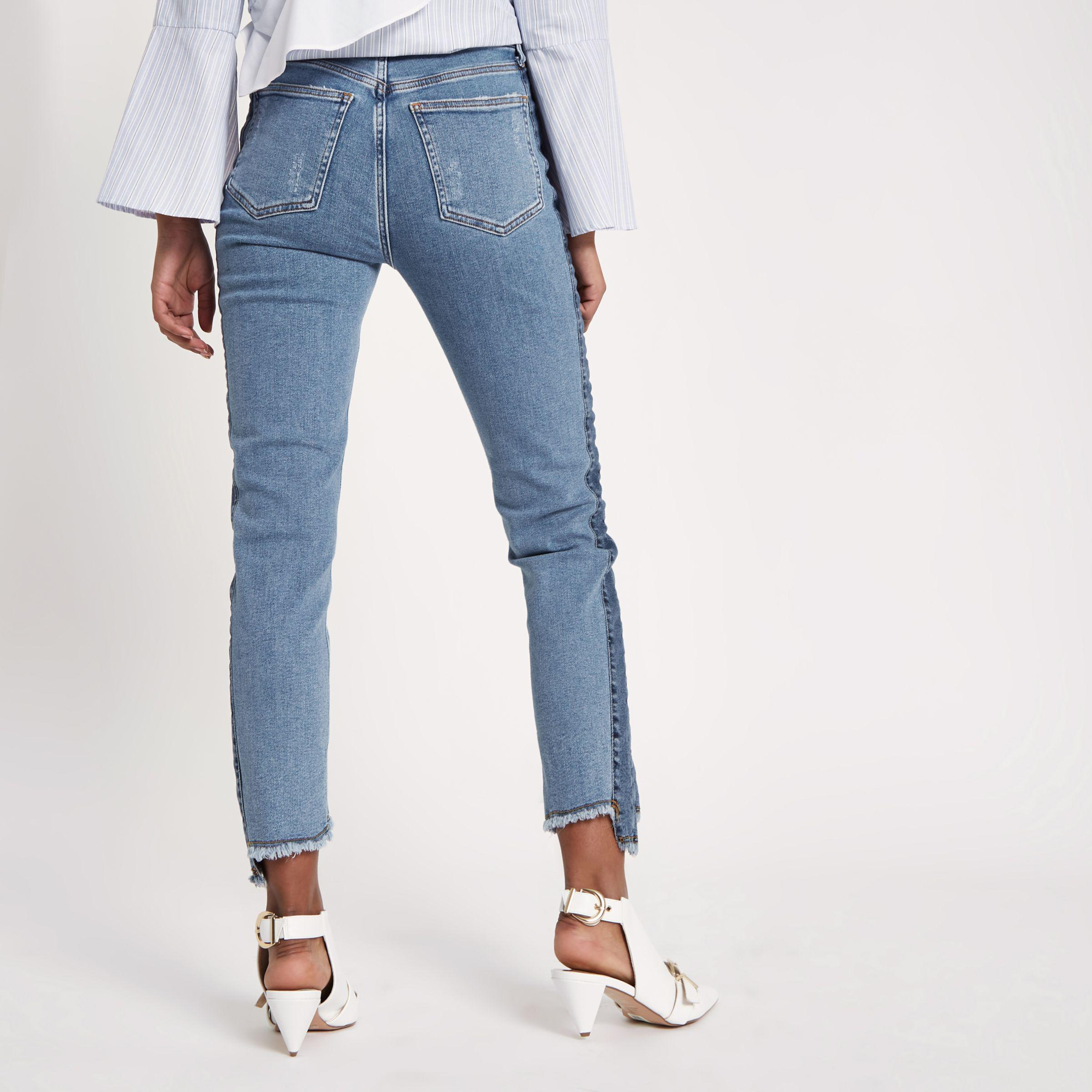 Womens Blue Casey shadow side panel slim fit jeans River Island dhT2tzKe