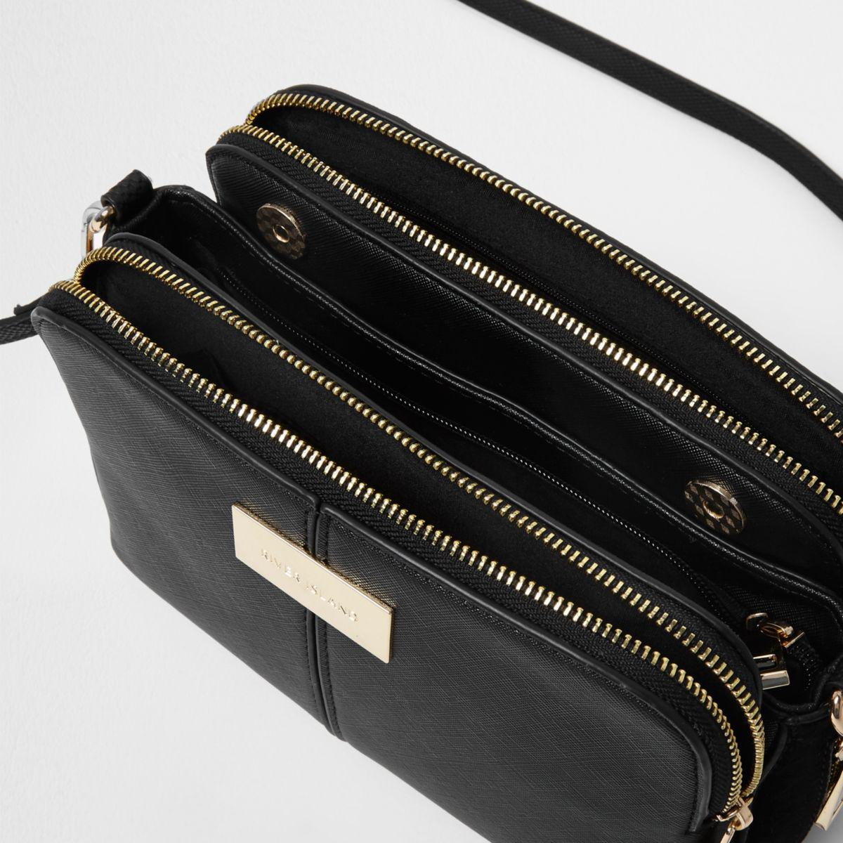 Lyst - River Island Black Triple Compartment Cross Body Bag in Black