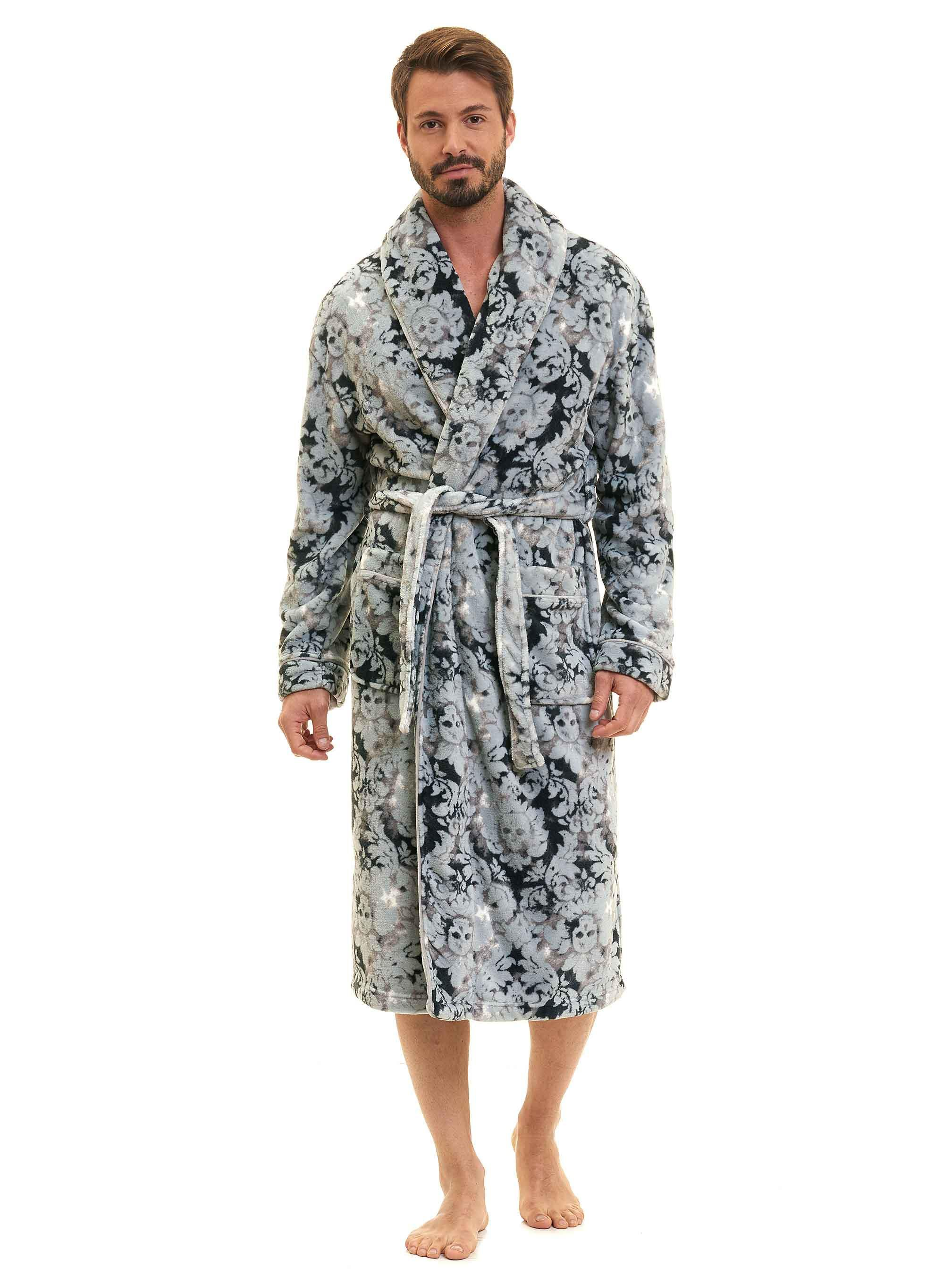 80dcc4e272 Lyst - Robert Graham Skulls Plush Shawl Robe in Gray for Men