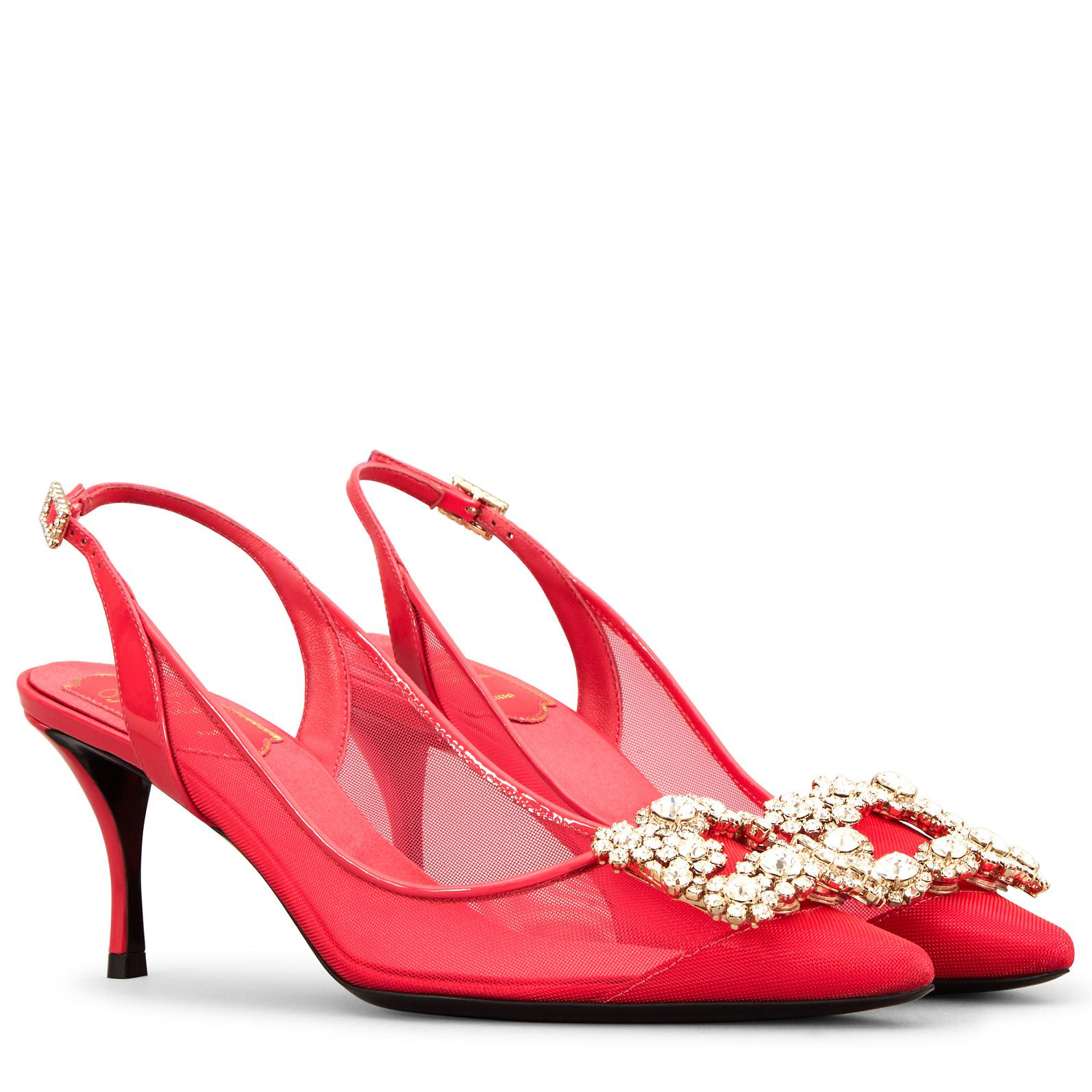 Roger Vivier Flower Strass Net Sling Back Pump