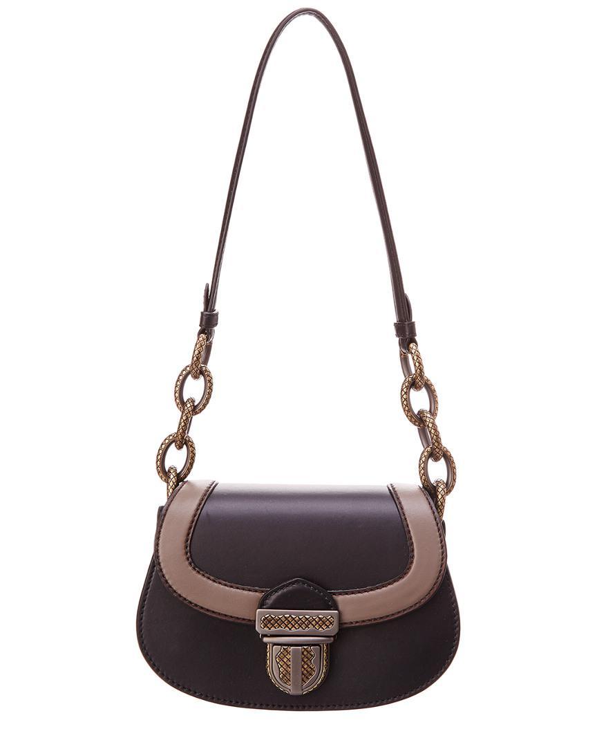 abfb91cab79 Lyst - Bottega Veneta Umbria Leather Shoulder Bag in Black