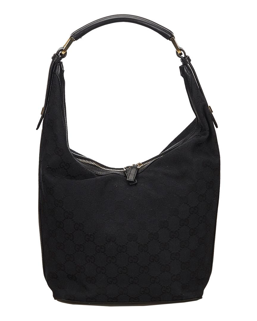 c83bd3a60 Lyst - Gucci Black GG Canvas & Leather Hobo Bag in Black