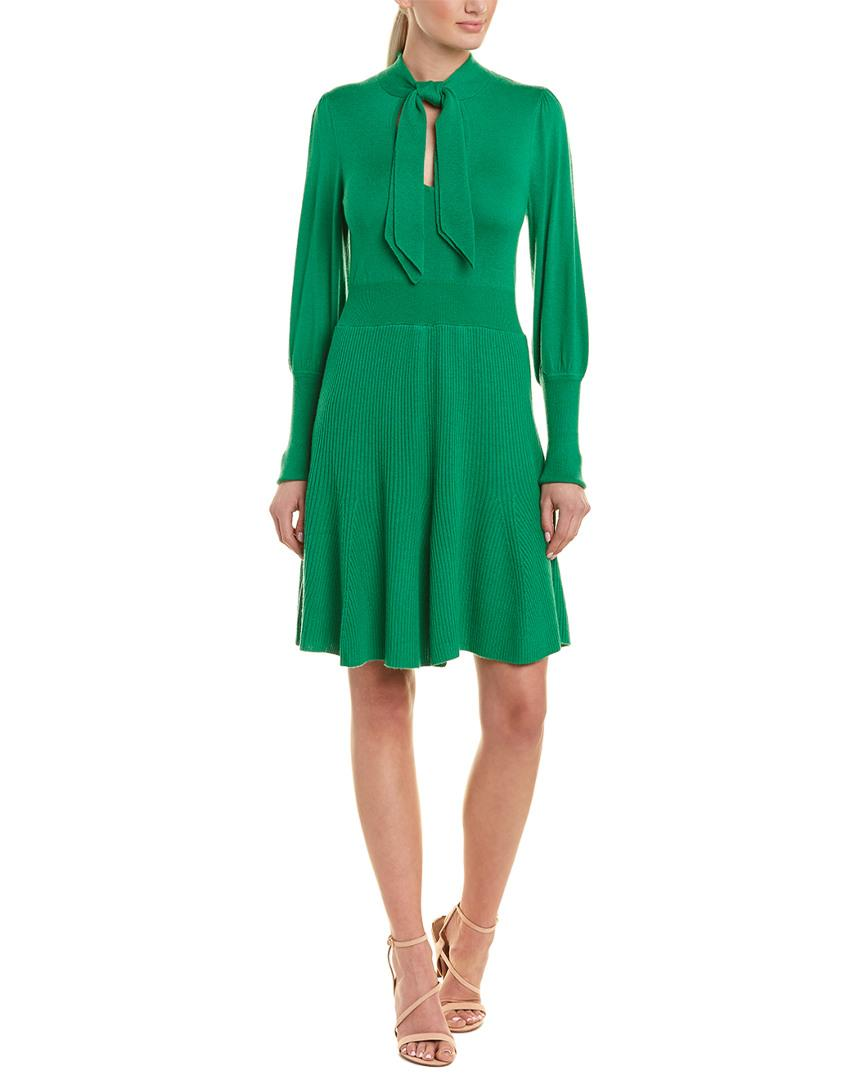 1a83778909d BCBGMAXAZRIA Keyhole Neck Wool-blend Sweaterdress in Green - Save 28 ...