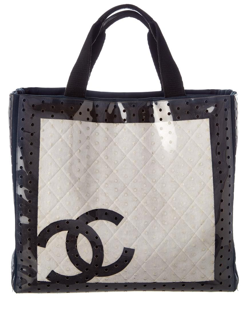 9f734d81c926 Lyst - Chanel Black And White Perforated Vinyl Cruise Sport Tote in ...
