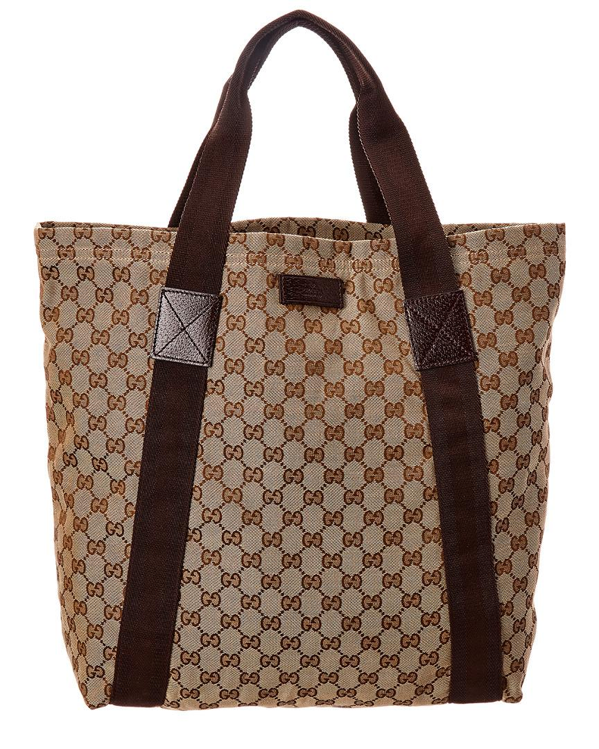 acd450f06977 Gucci Brown GG Canvas & Leather Medium Tote in Brown - Save 8% - Lyst