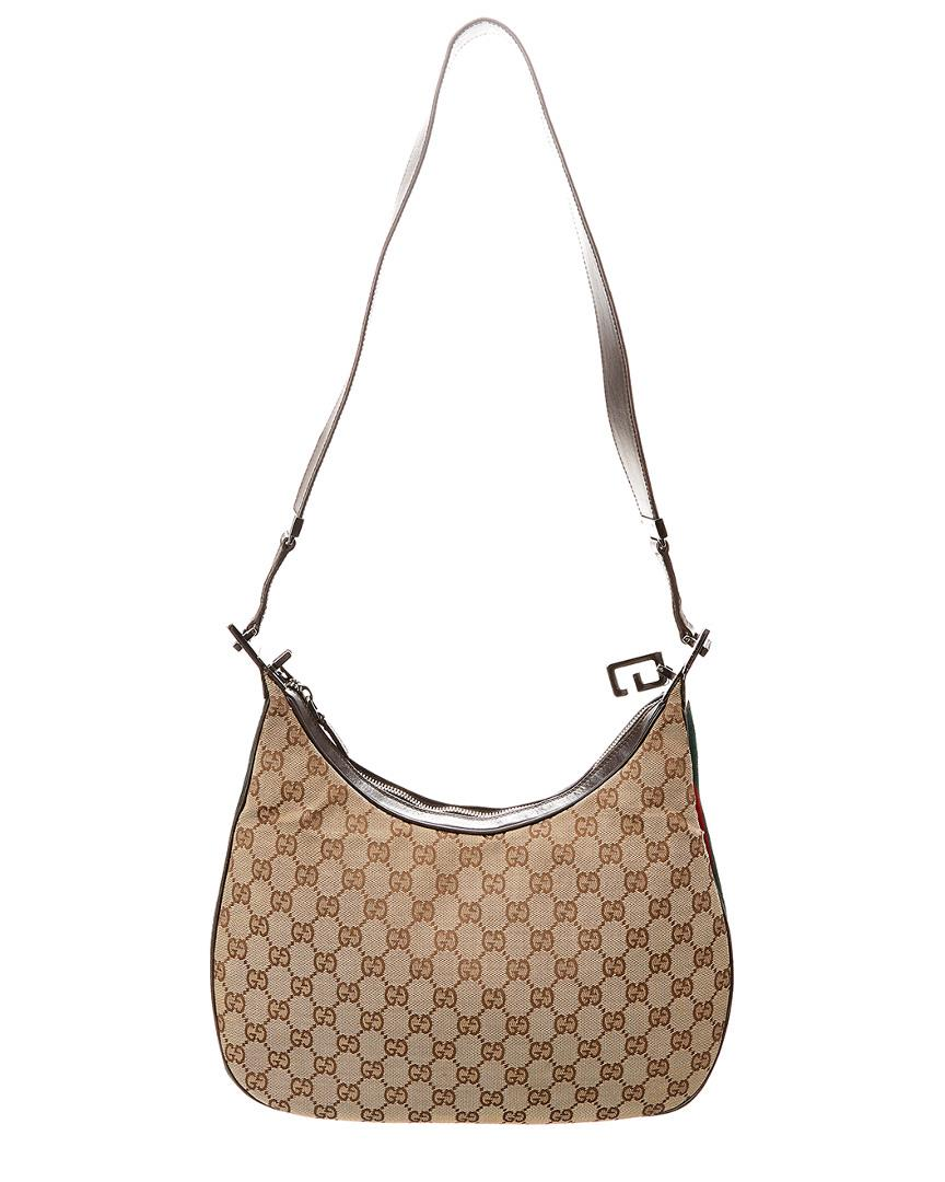 954accc4c Gucci Brown GG Canvas & Leather Shelly Line Hobo Bag in Brown - Lyst