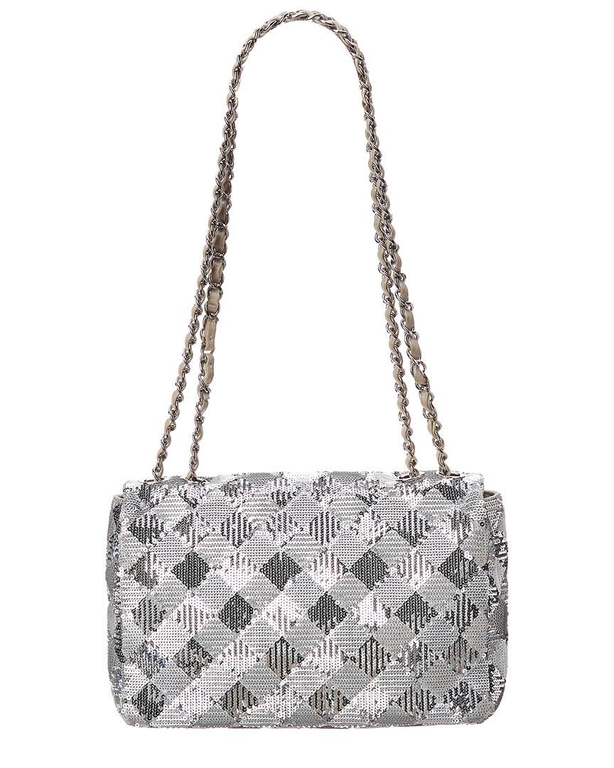 20efd826bbaa Lyst - Chanel Limited Edition Silver Sequins Small Half Flap Bag in Metallic