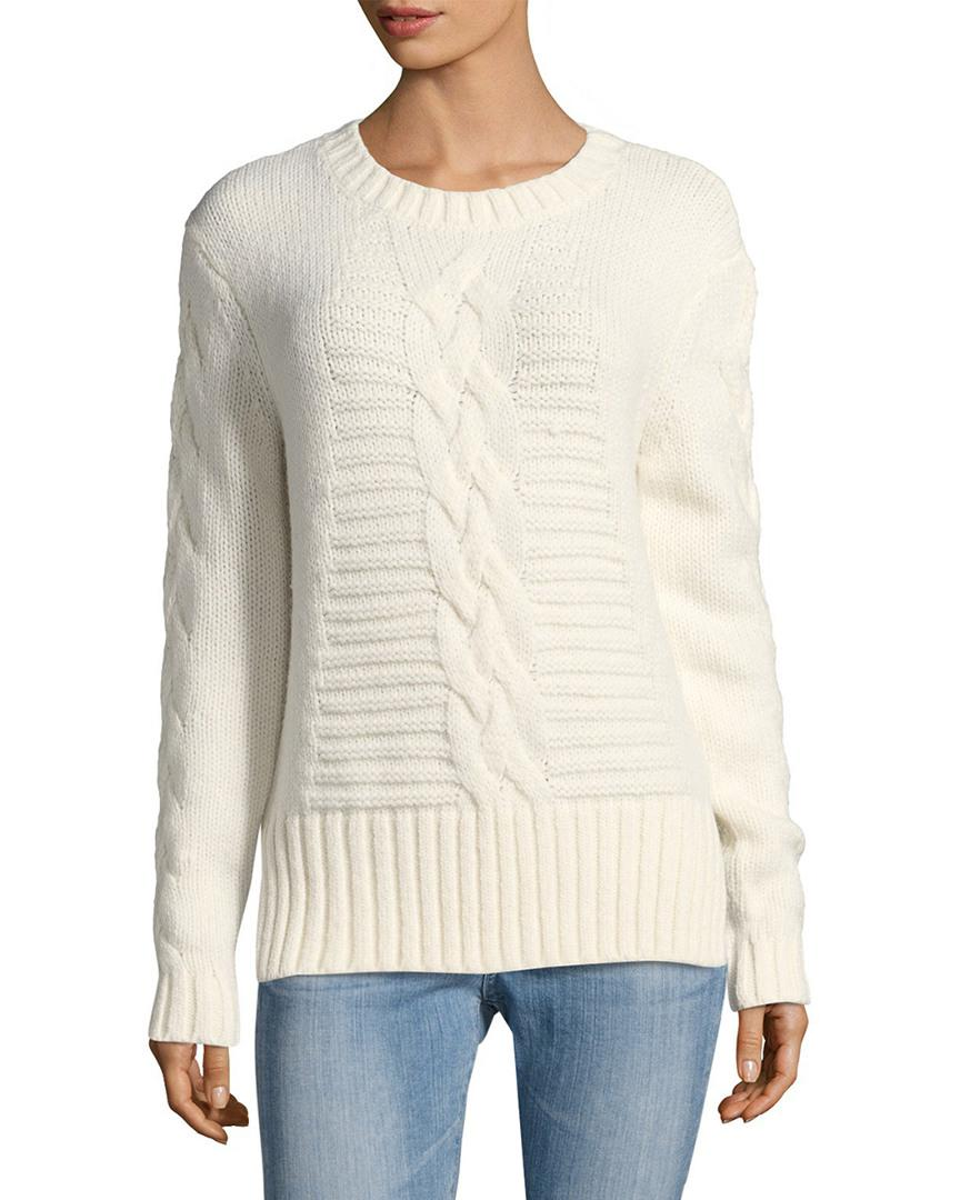 Lyst - The Kooples Fancy Cable Knit Sweater in White 75ef6525e