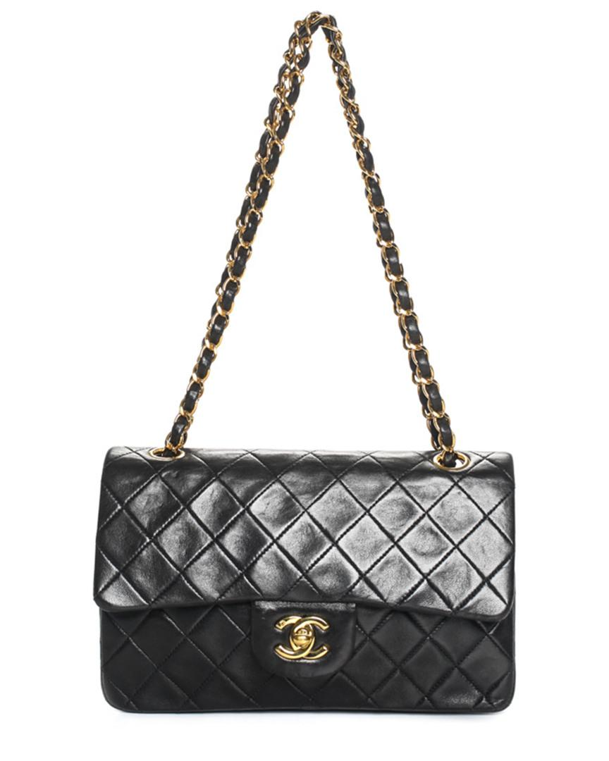047764b0b750 Lyst - Chanel Black Quilted Lambskin Leather Small Flap Bag in Black