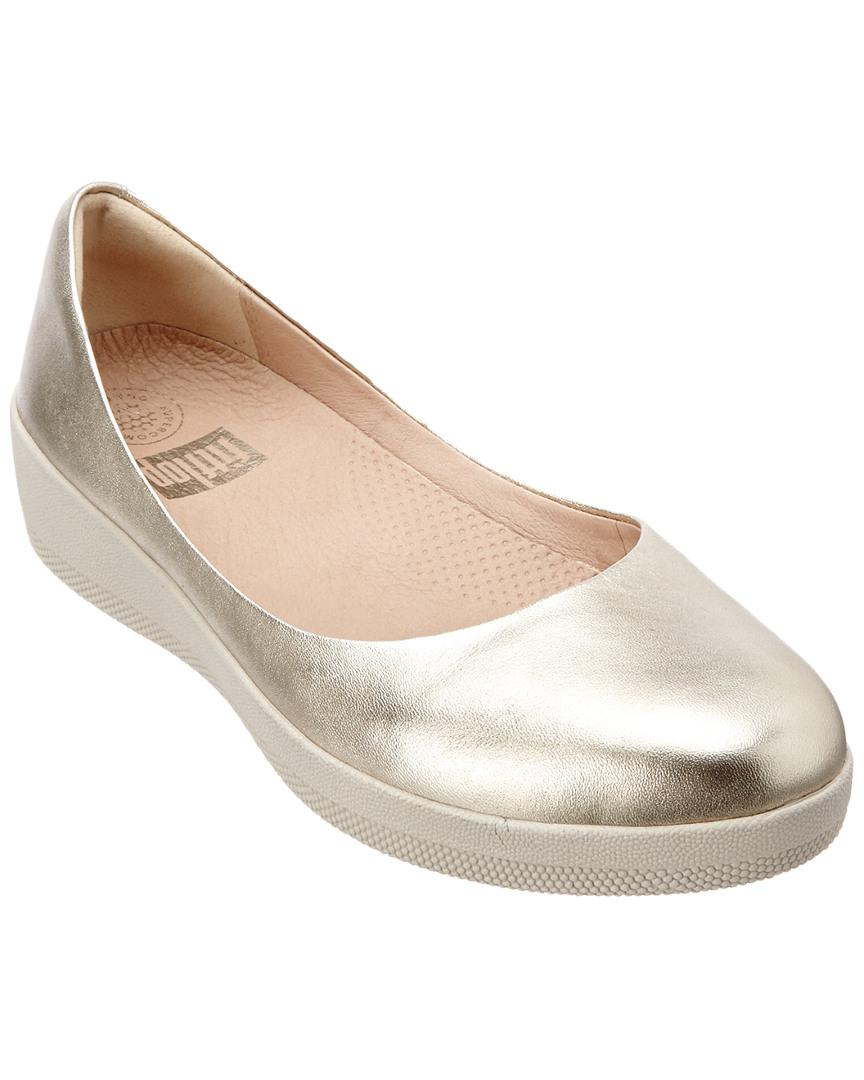 eb76f17ba75 Fitflop Superballerina Leather Flat in Metallic - Lyst