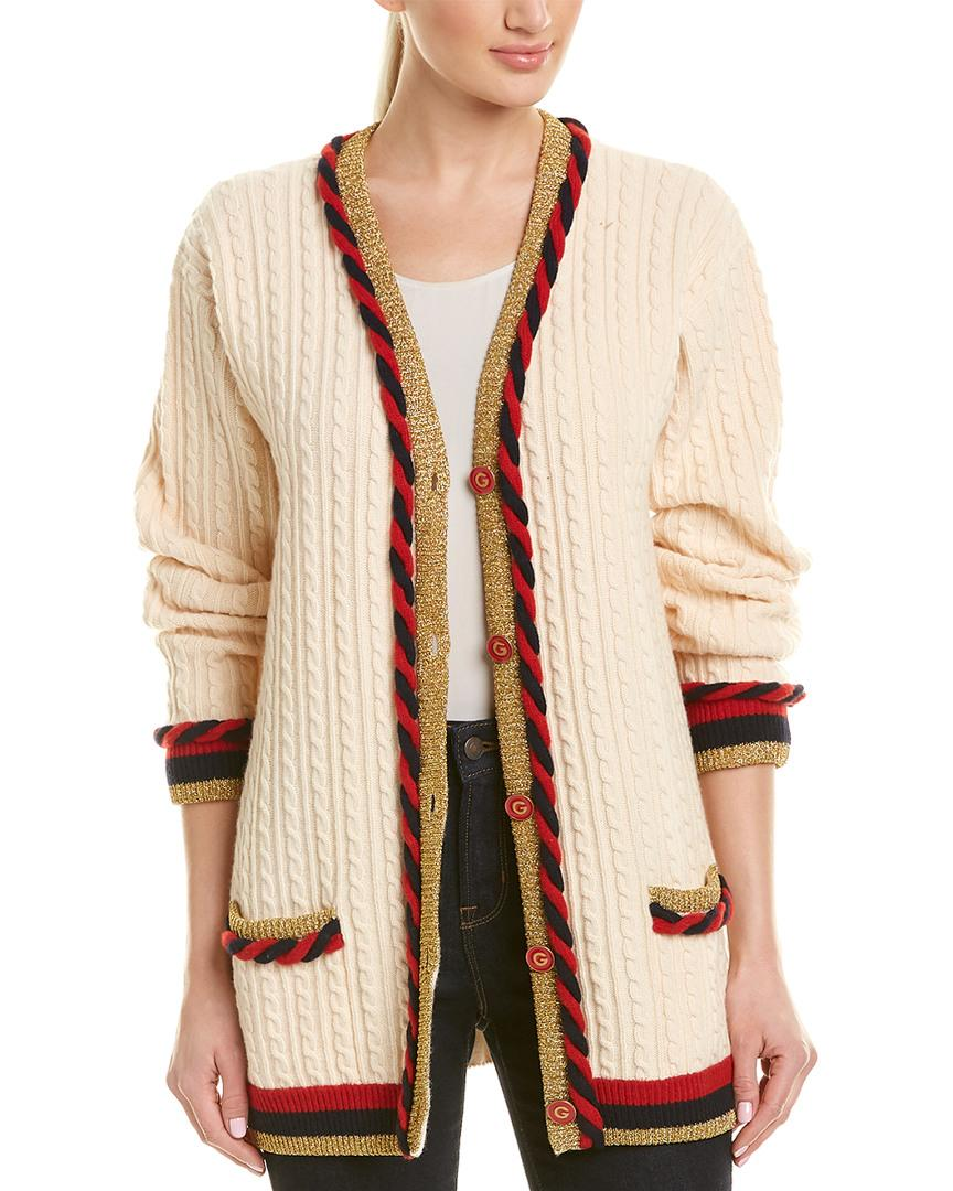 807286f2 Lyst - Gucci Wool & Cashmere-blend Cardigan in Natural