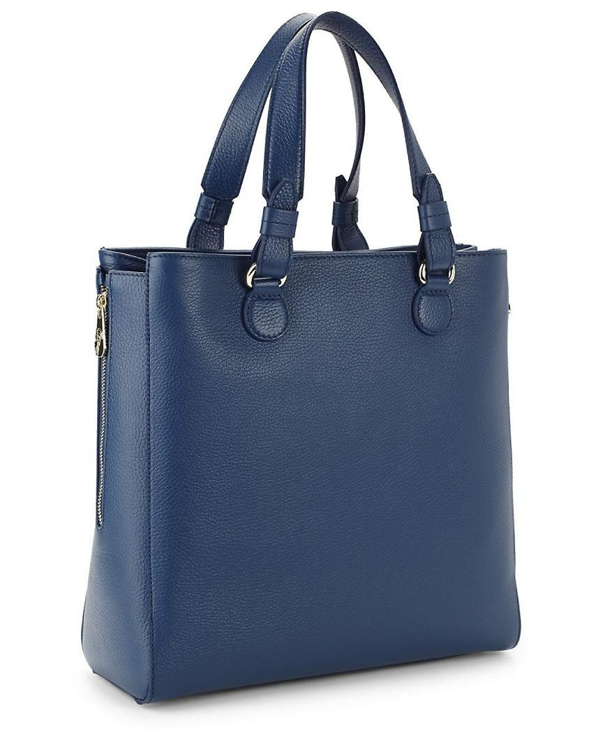 e7133cfd7afe Versace Pebbled Leather Satchel Bag in Blue - Lyst