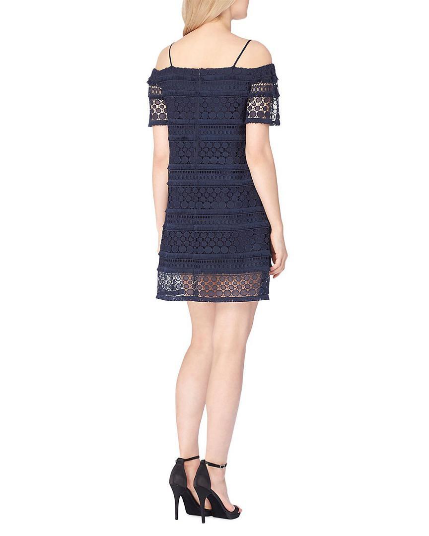 a2a532f864 Lyst - Tahari Tahari Asl Lace Cold-shoulder Dress in Blue - Save 70%