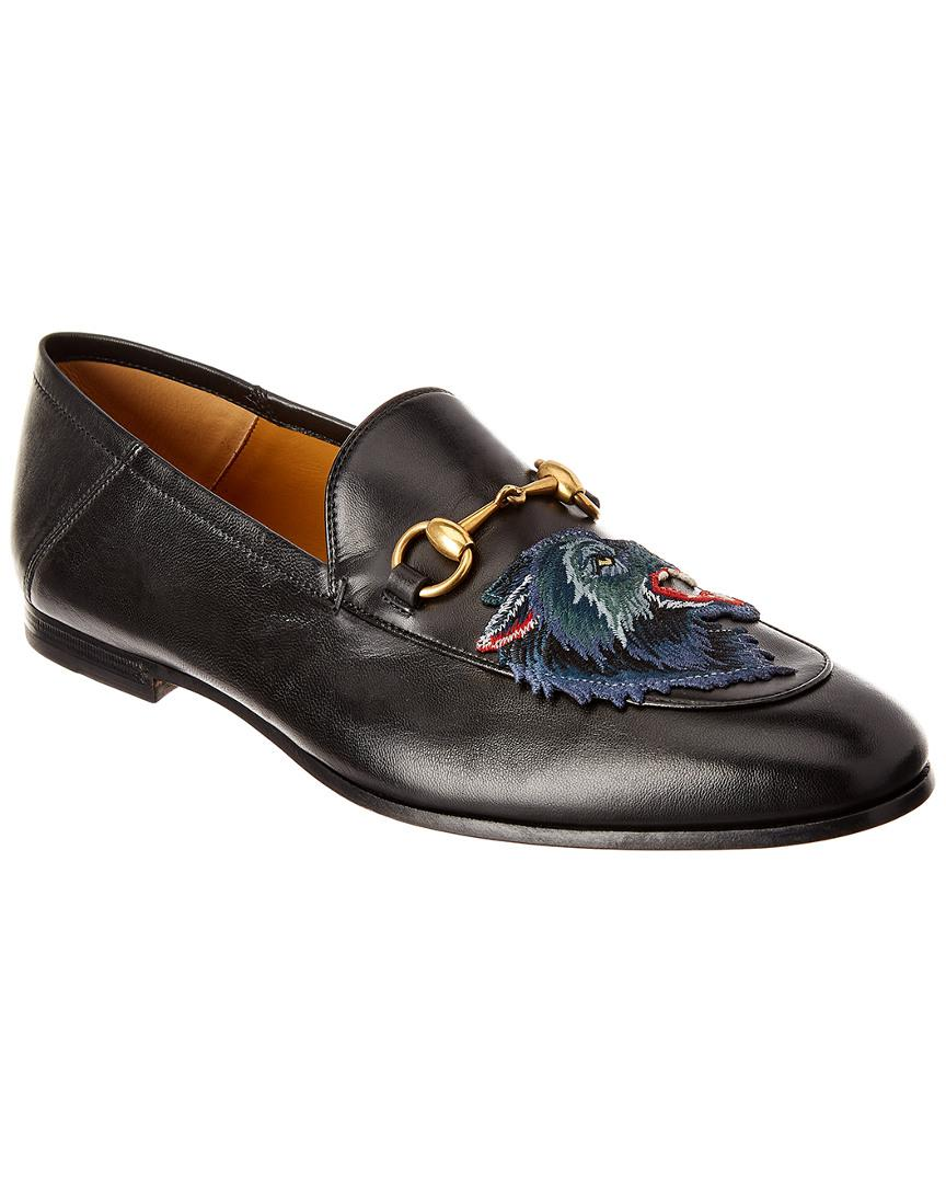 f25ba1b2dc3 Lyst - Gucci Brixton Angry Wolf Applique Leather Loafer in Black for ...